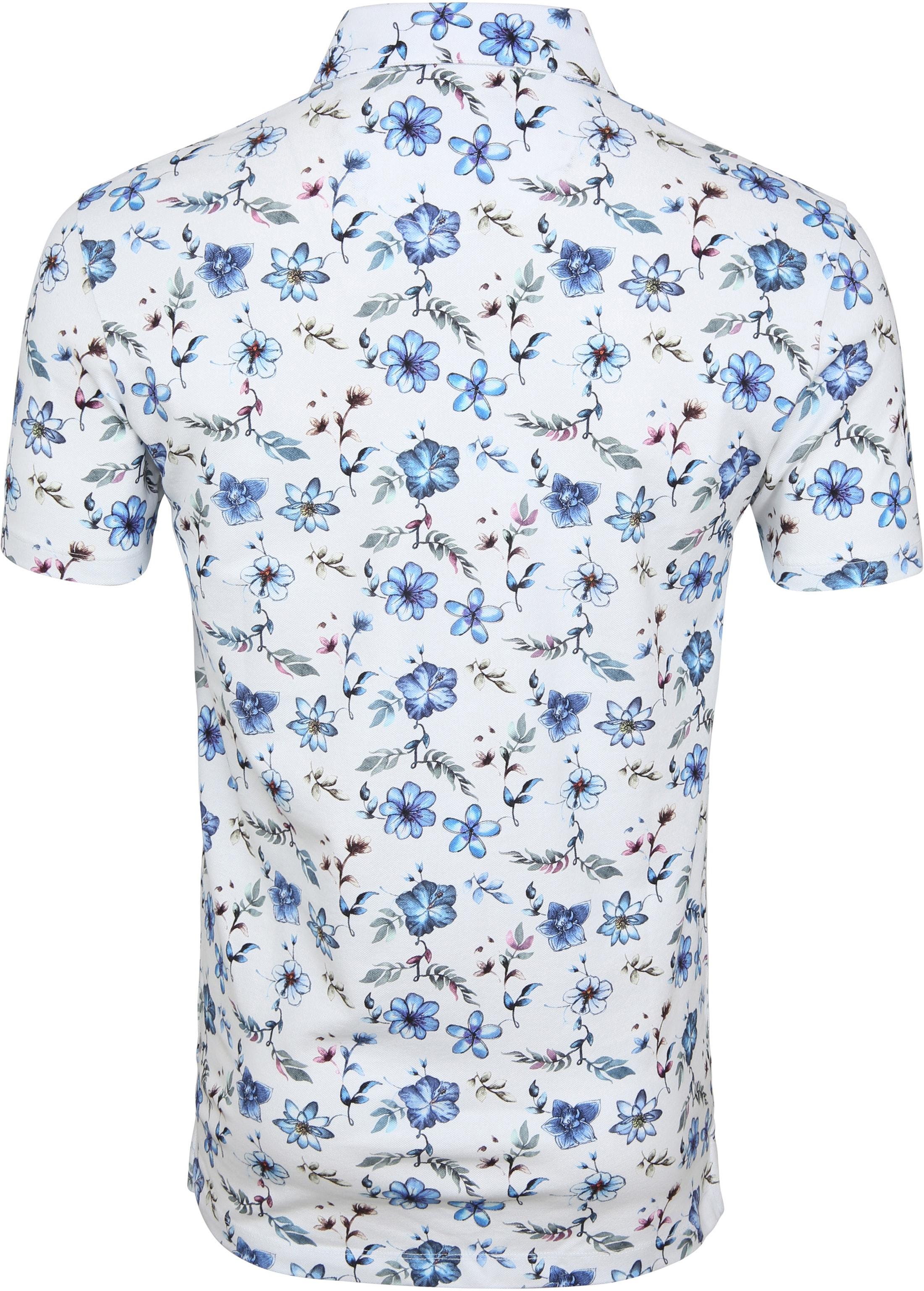R2 Poloshirt Piquet Blumen Blau foto 3