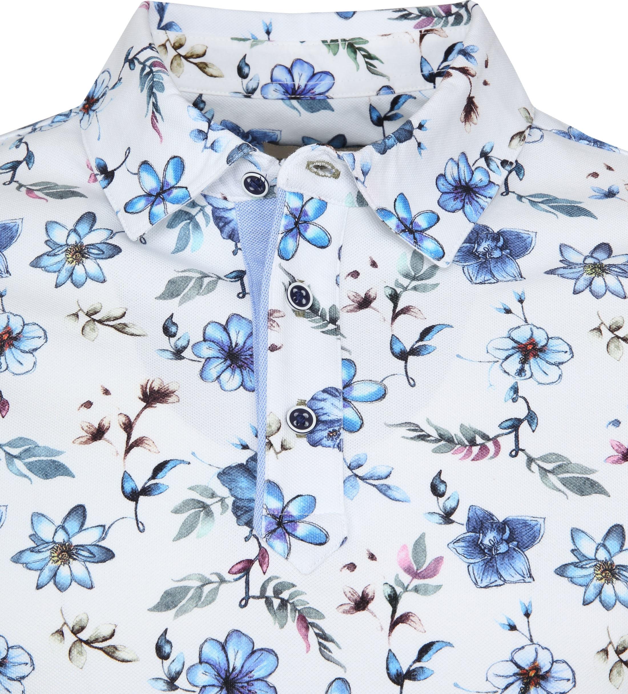 R2 Poloshirt Piquet Flowers Blue foto 1