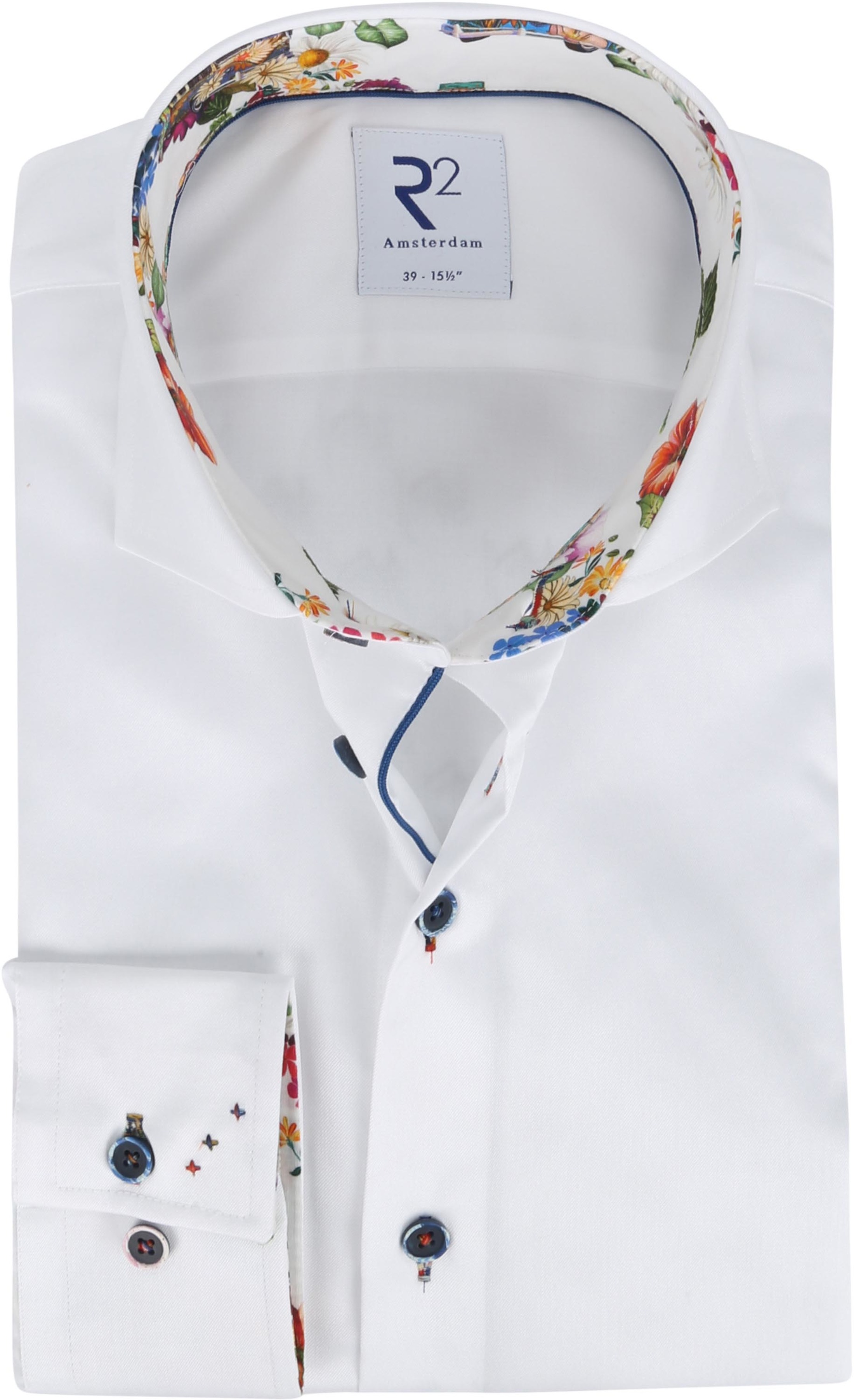 R2 Shirt White Flowers Multicolour