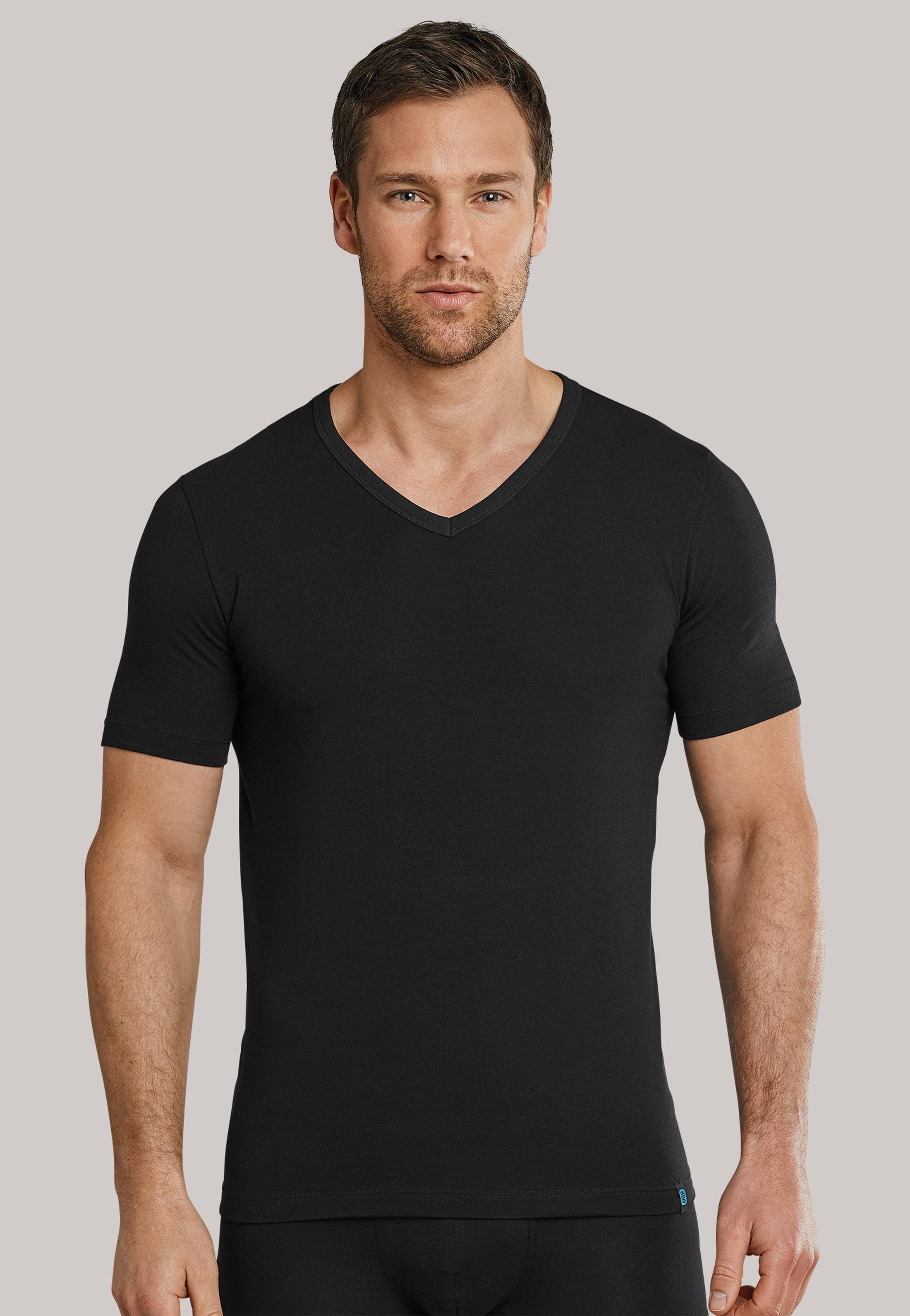 Schiesser T-shirt V-hals Schwarz