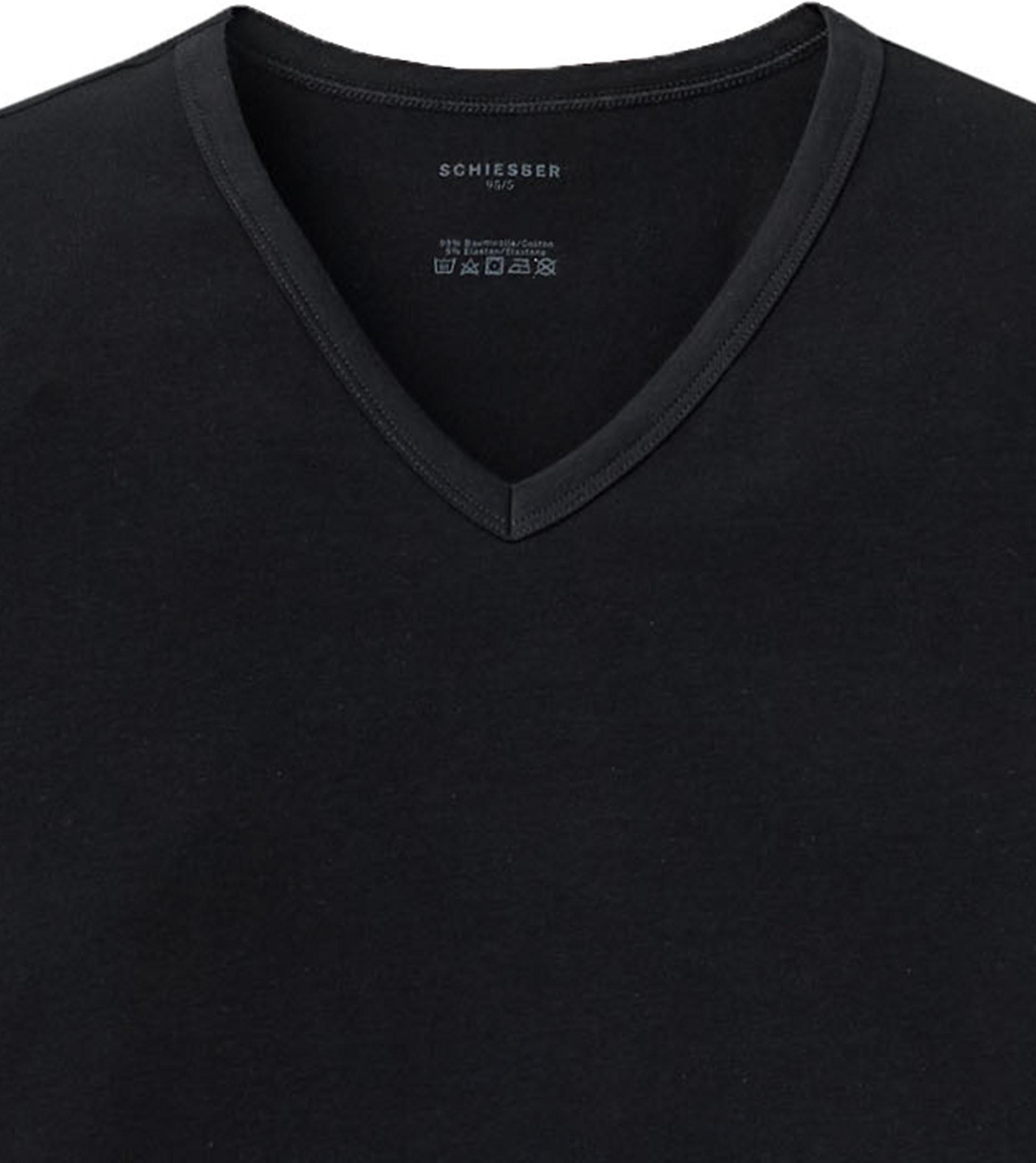 Schiesser T-shirt V-hals Zwart