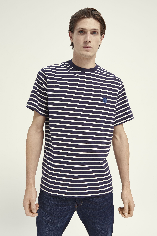 Scotch & Soda T-Shirt Strepen Donkerblauw