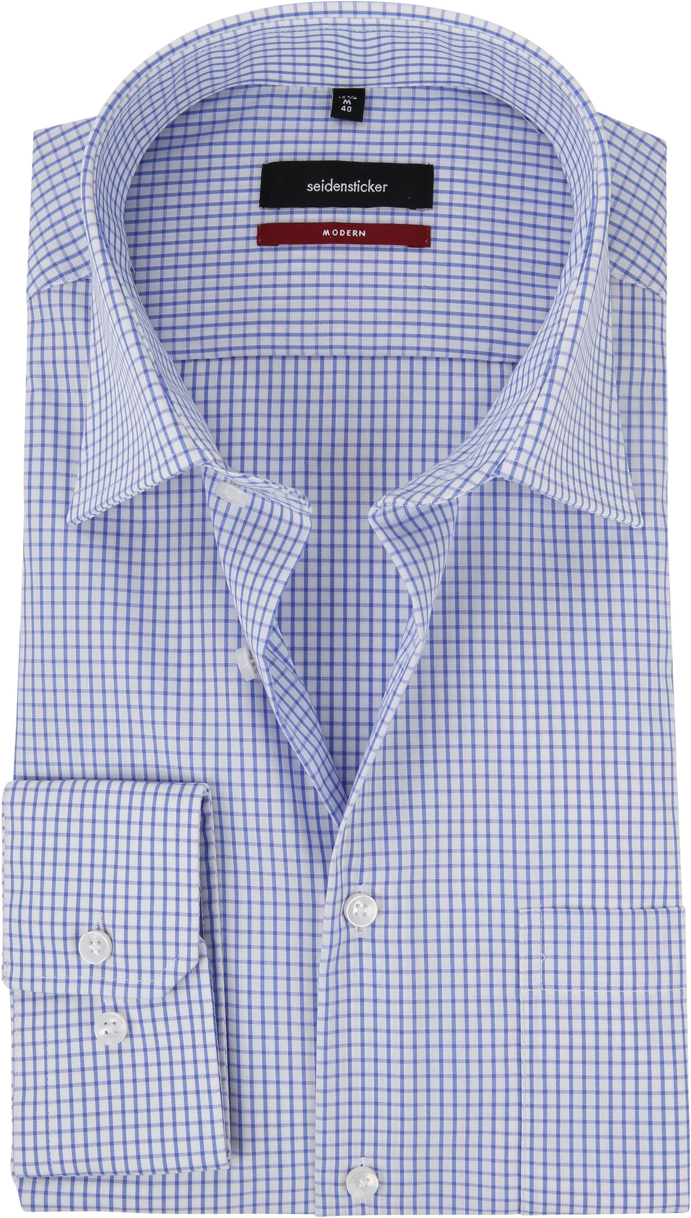 Seidensticker Hemd Bügelfrei Modern Blau Weiß Kariert foto 0