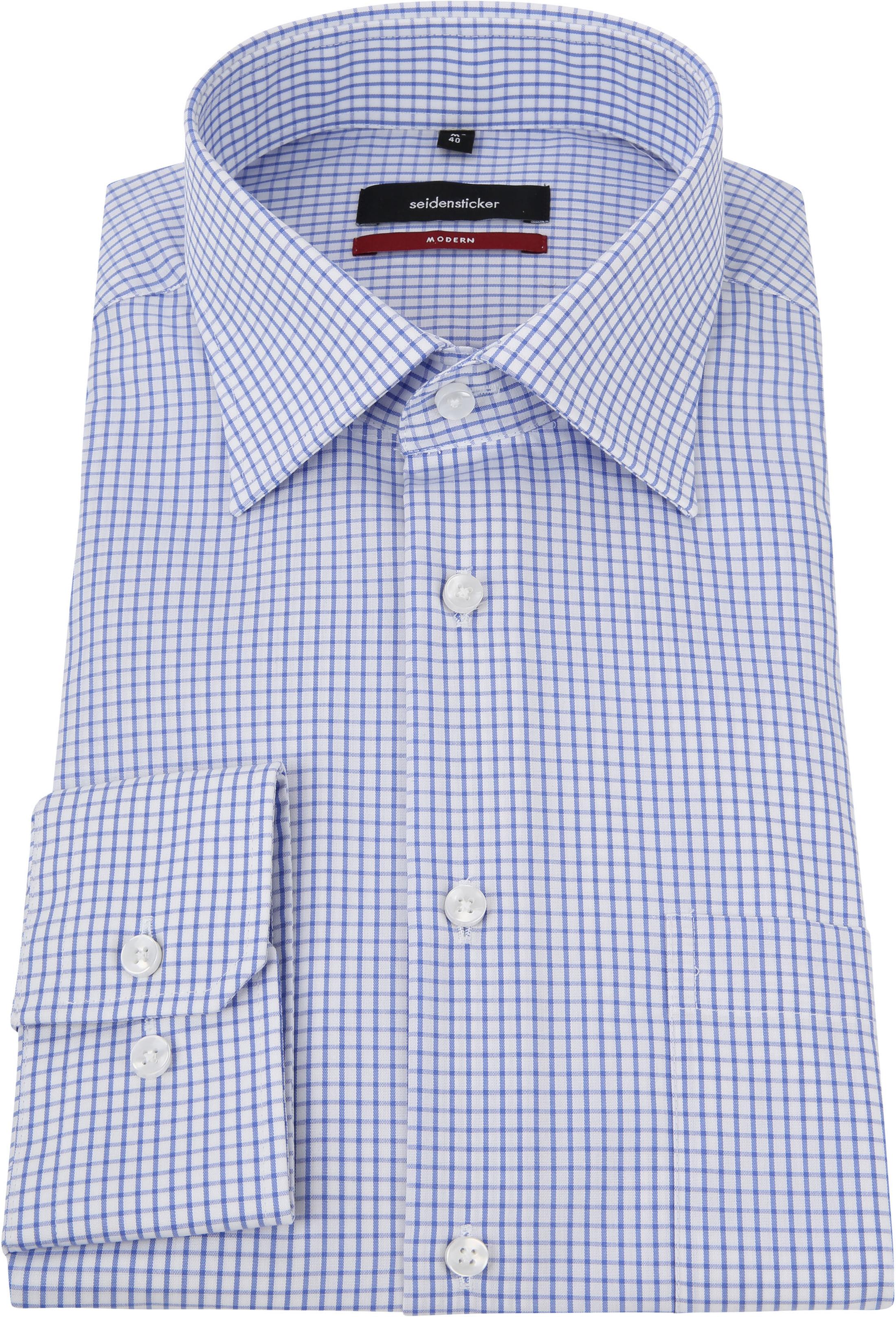 Seidensticker Hemd Bügelfrei Modern Blau Weiß Kariert foto 2