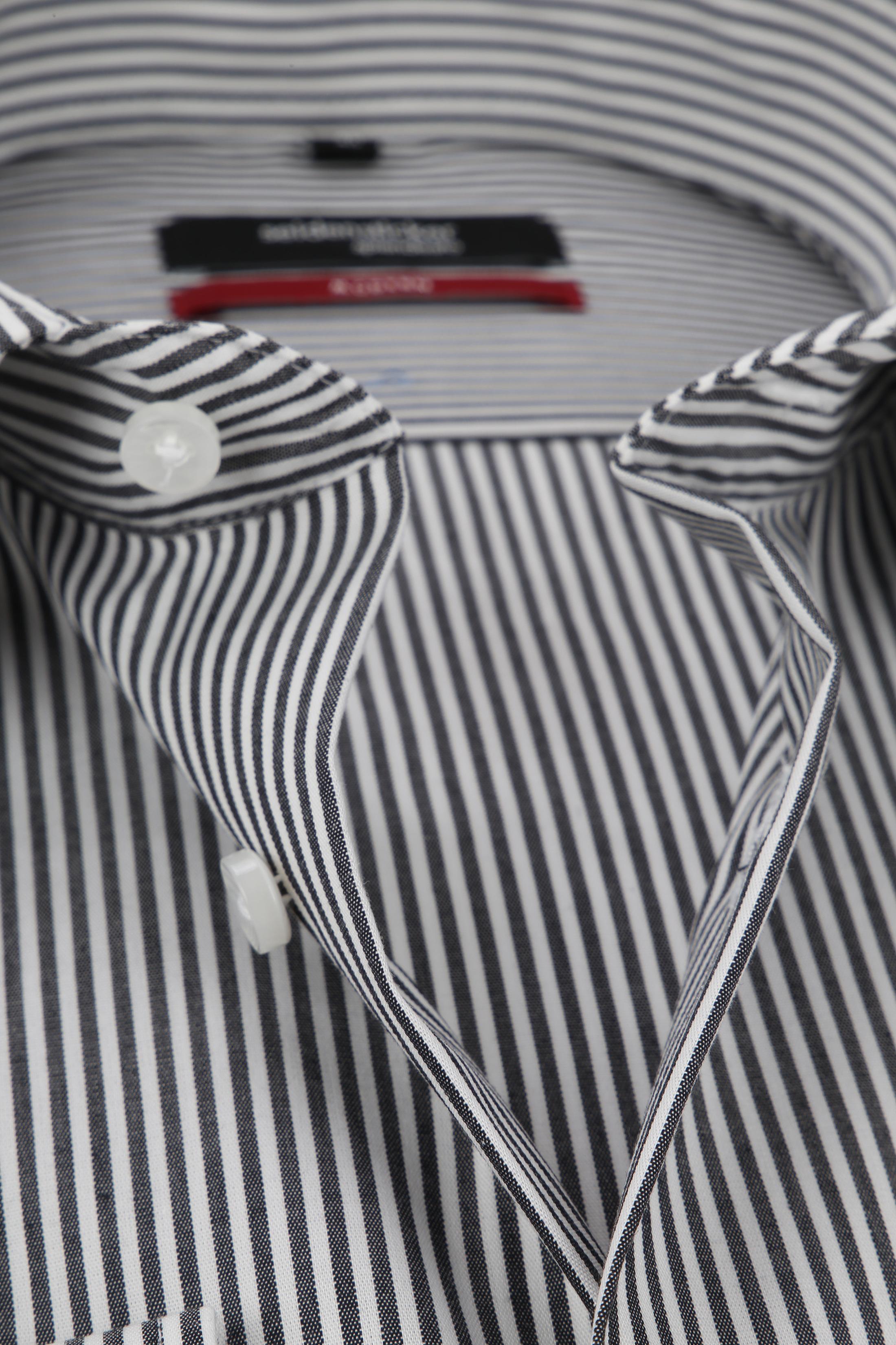 Seidensticker Hemd Bügelfrei Modern Schwarz Weiß Streifen foto 1