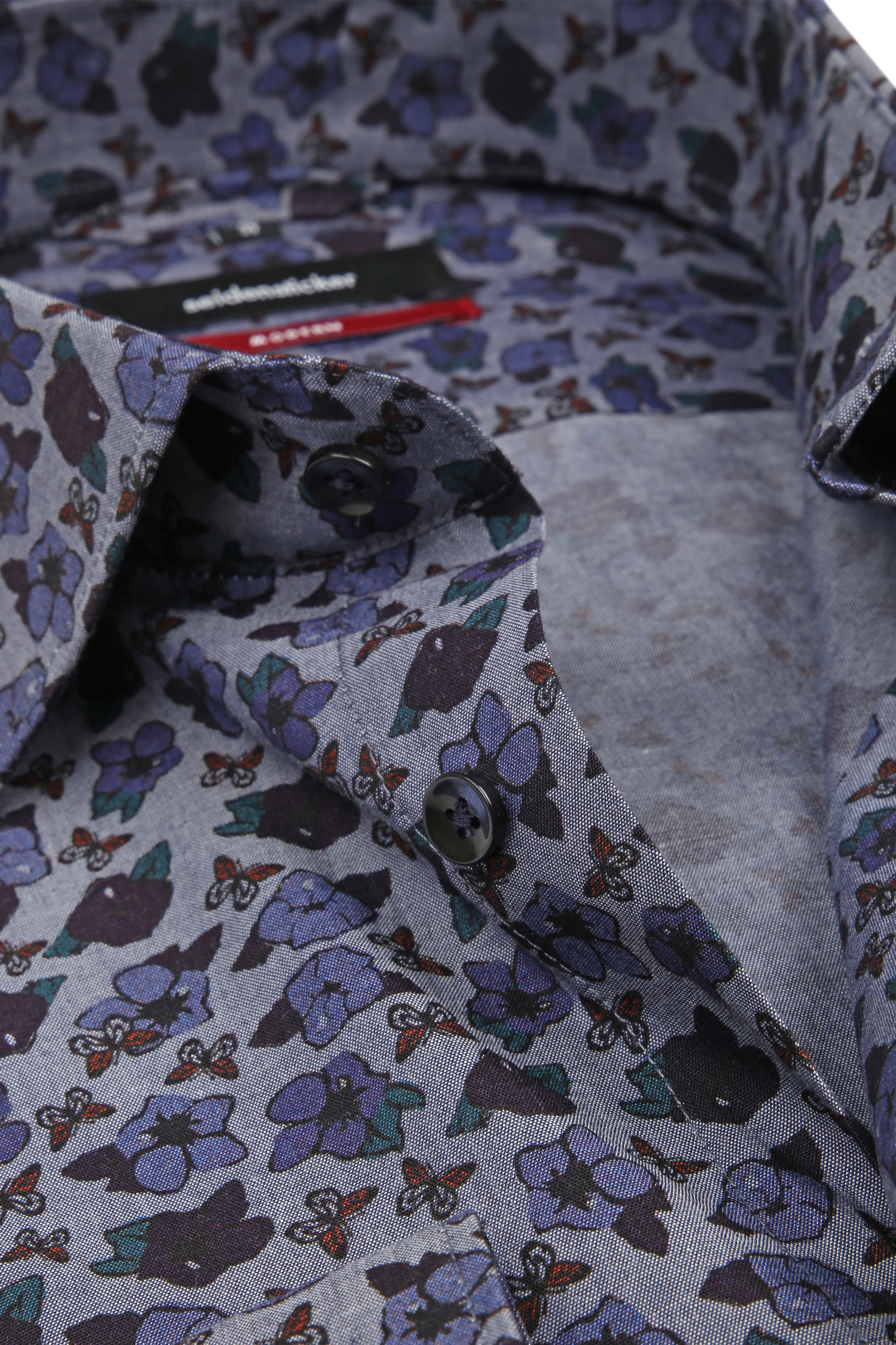 Seidensticker Overhemd MF Bloem Blauw foto 1