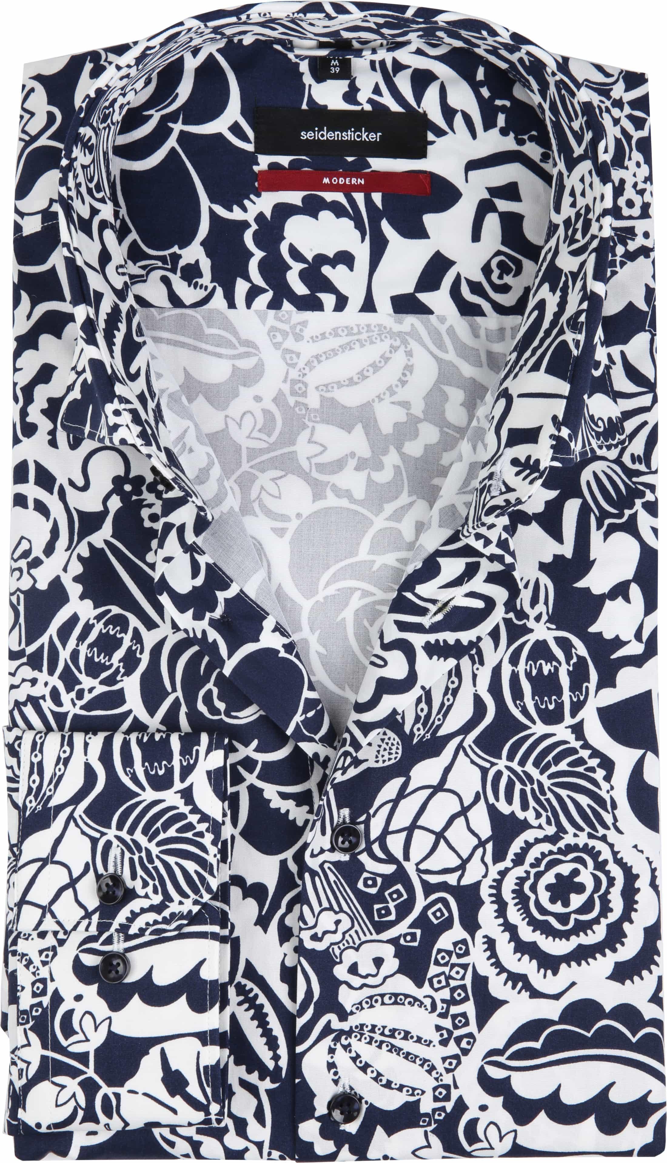 Seidensticker Overhemd MF Flower Navy foto 0