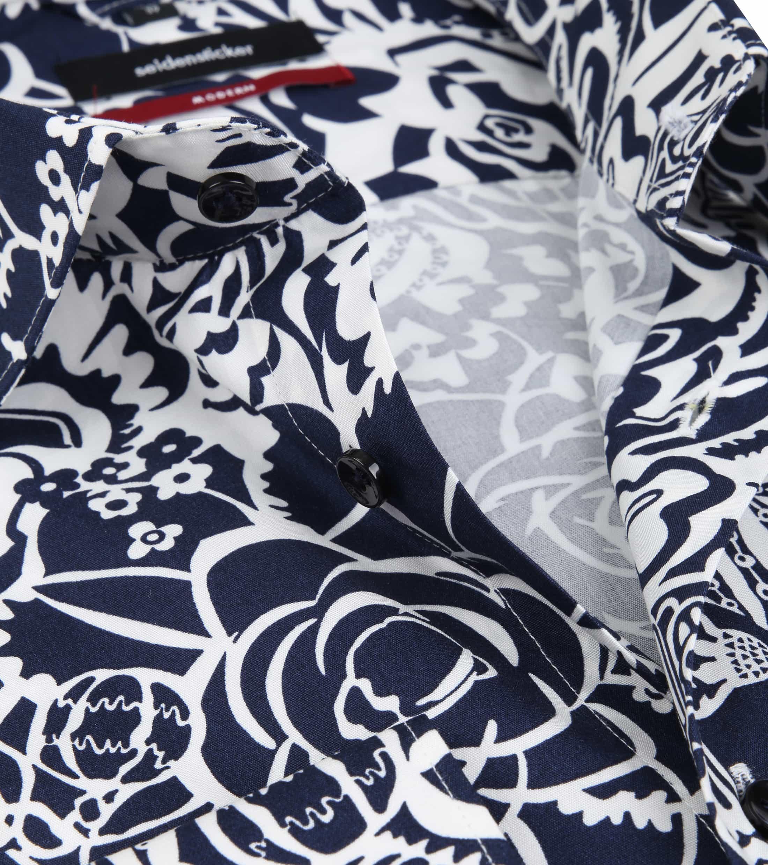 Seidensticker Overhemd MF Flower Navy foto 1