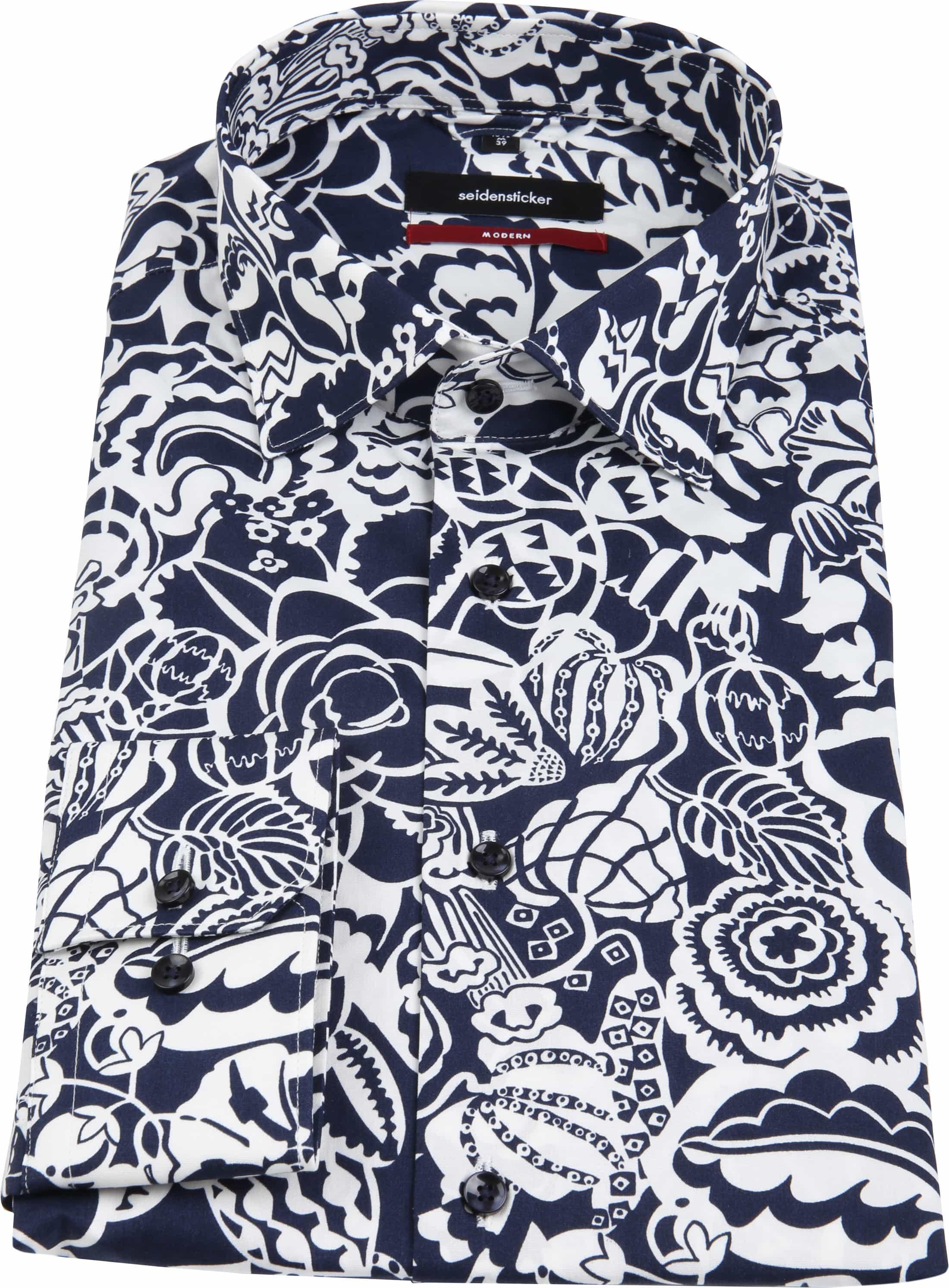 Seidensticker Overhemd MF Flower Navy foto 3