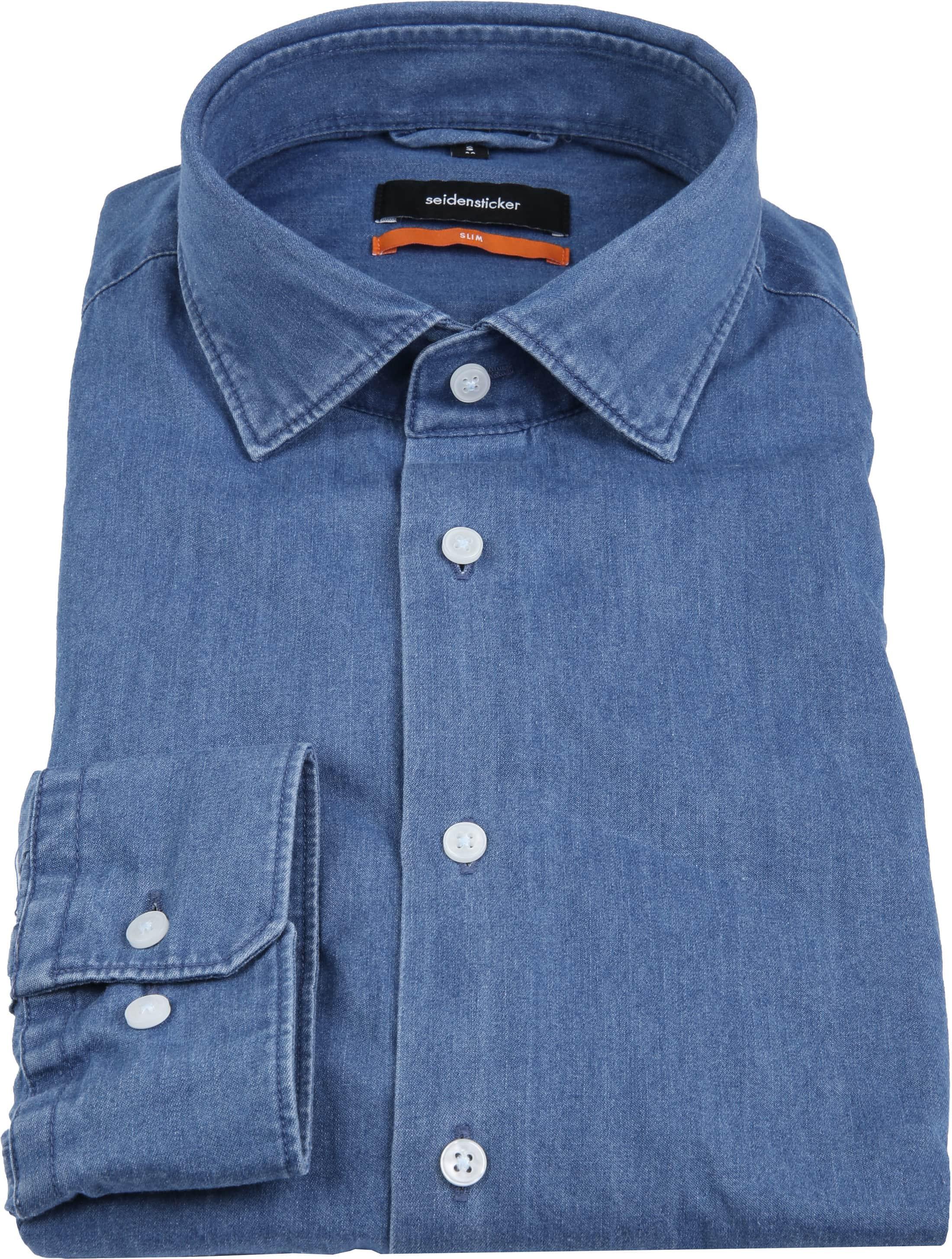 Seidensticker Overhemd SF Denim Blue foto 3