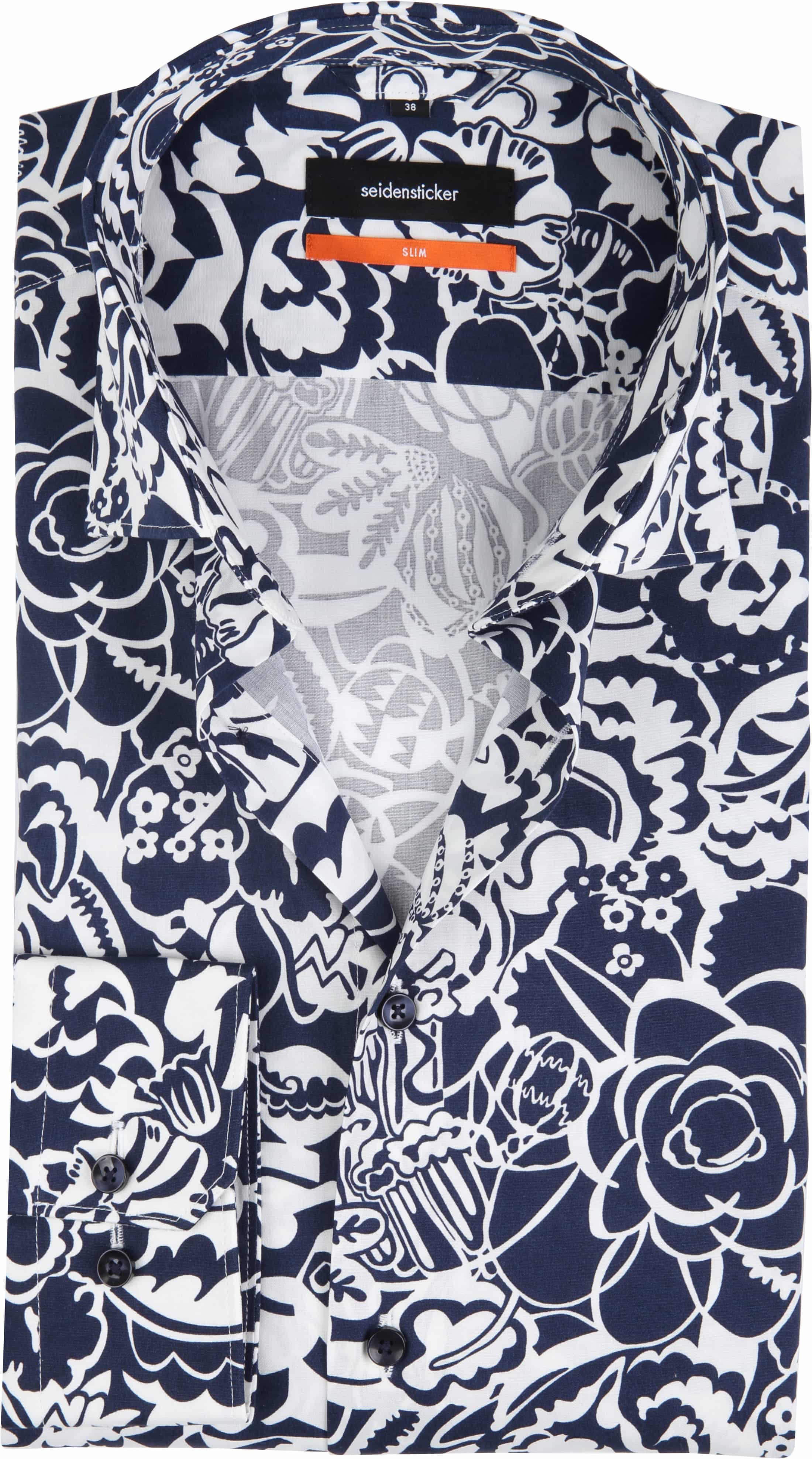 Seidensticker Overhemd SF Flower Navy foto 0