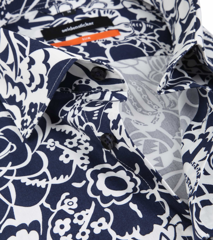 Seidensticker Overhemd SF Flower Navy foto 1