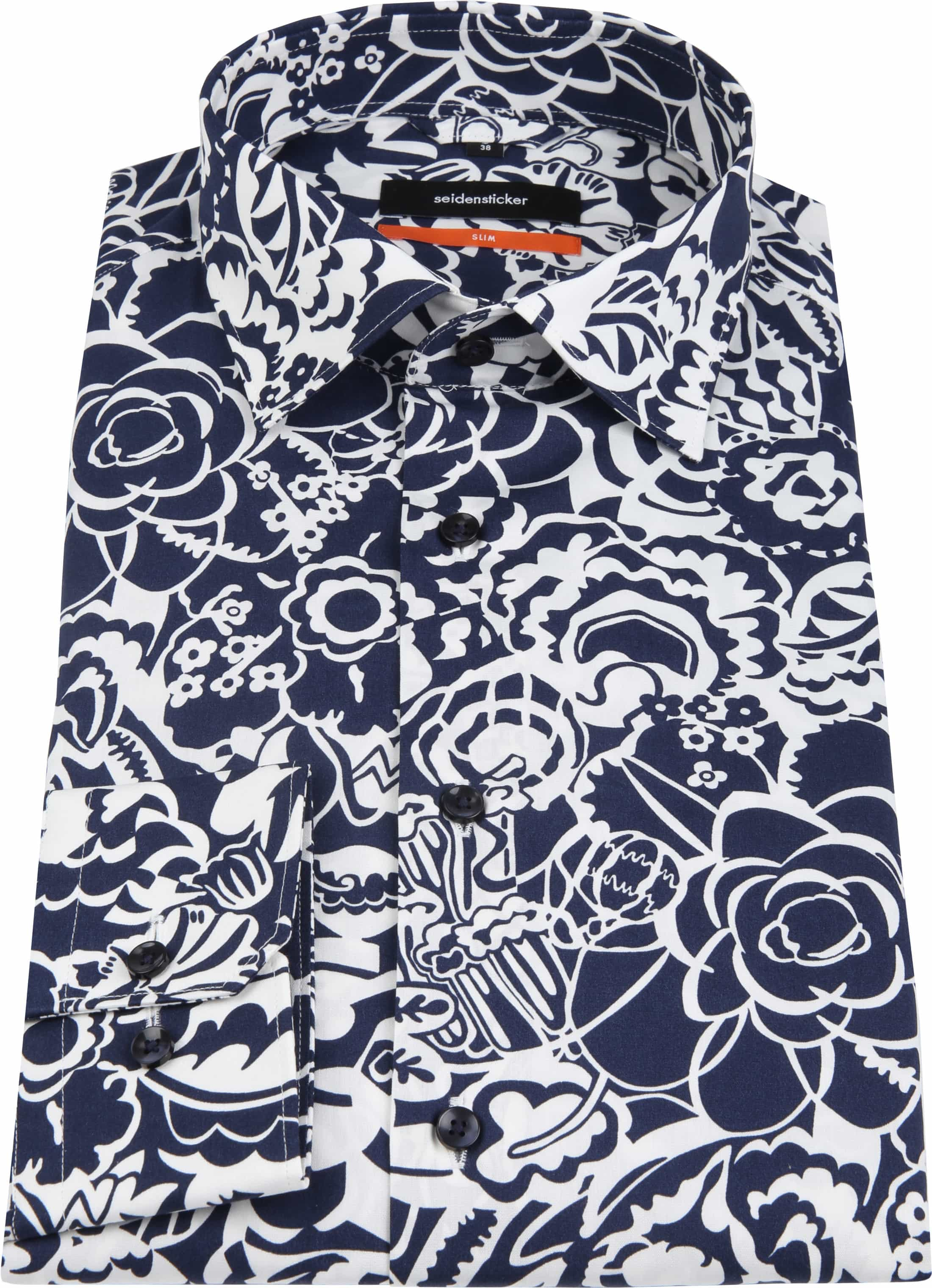 Seidensticker Overhemd SF Flower Navy foto 3