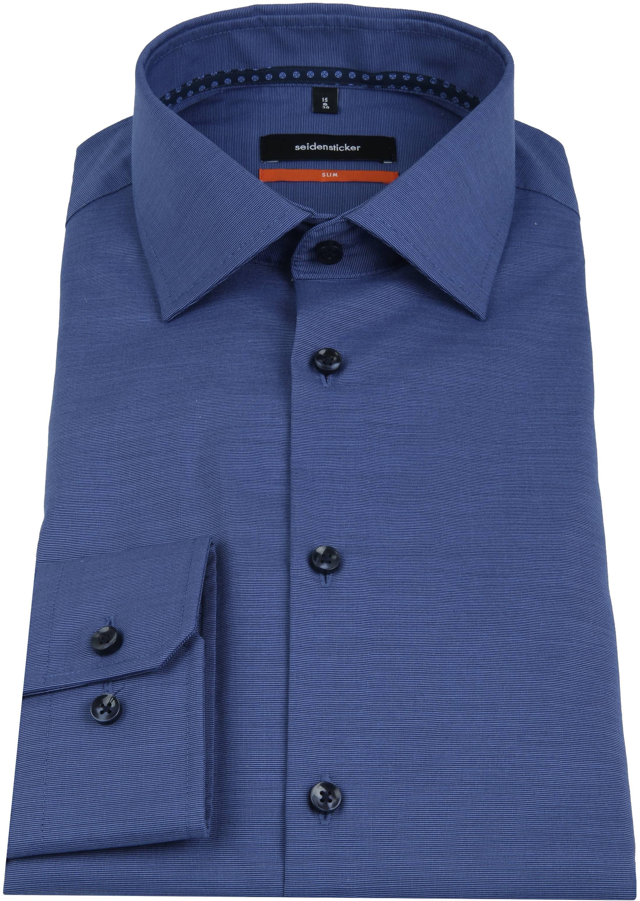 Seidensticker Overhemd Slim-Fit Navy foto 3