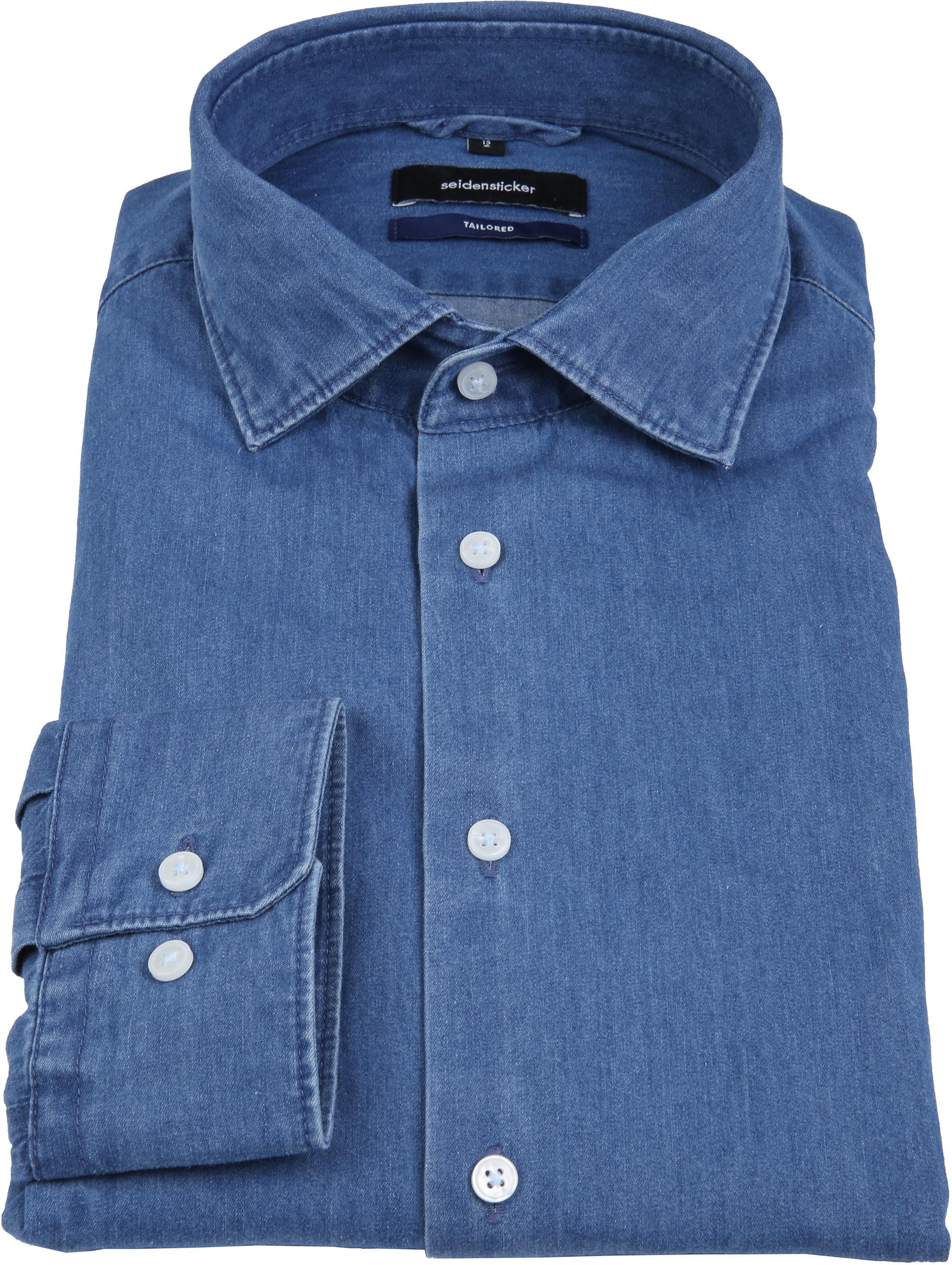 Seidensticker Overhemd TF Denim Blue foto 3