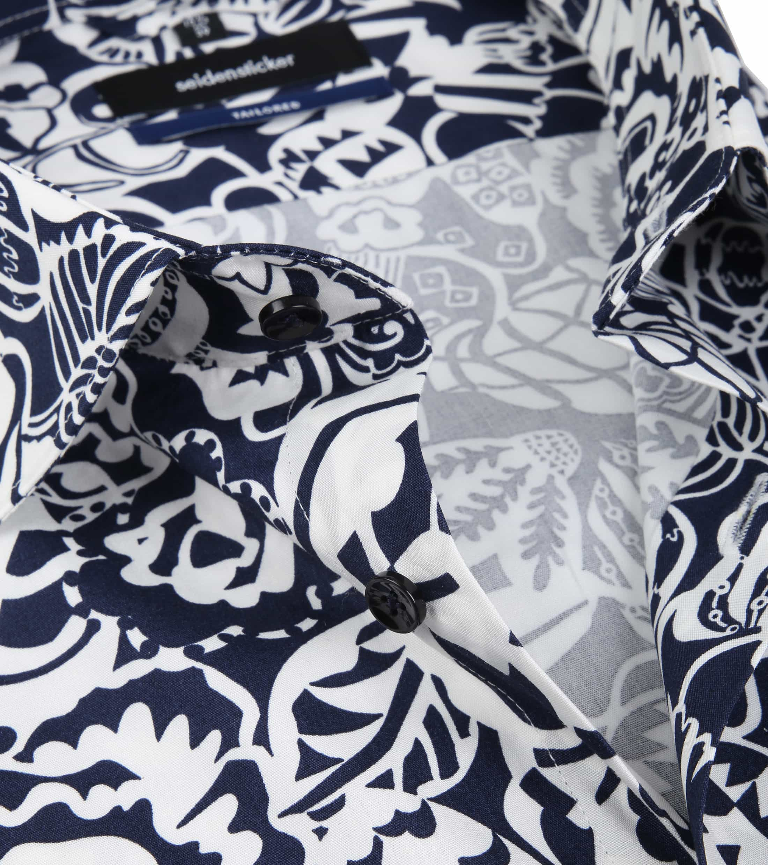 Seidensticker Overhemd TF Flower Navy foto 1