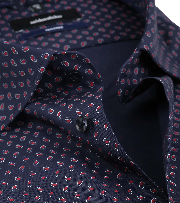 Seidensticker Overhemd TF Paisley Navy foto 1