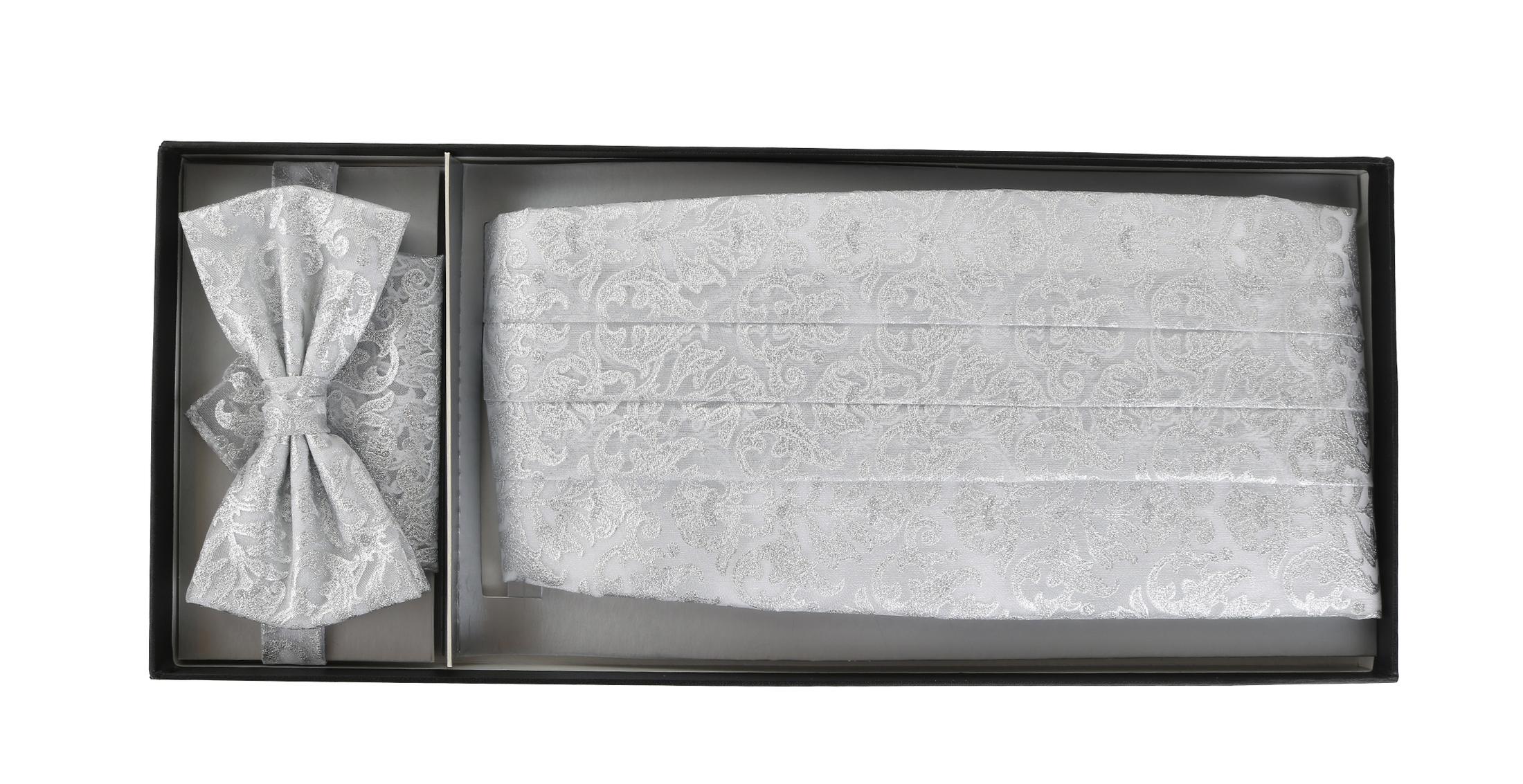 Set Kummerbund, Fliege und Einstecktuch Silber Paisley foto 1