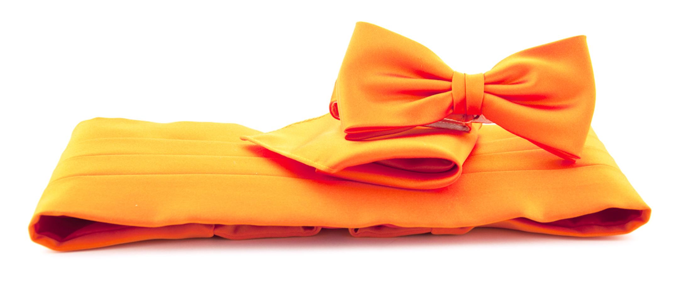 Set Kummerbund mit Fliege und Einstecktuch Orange foto 0