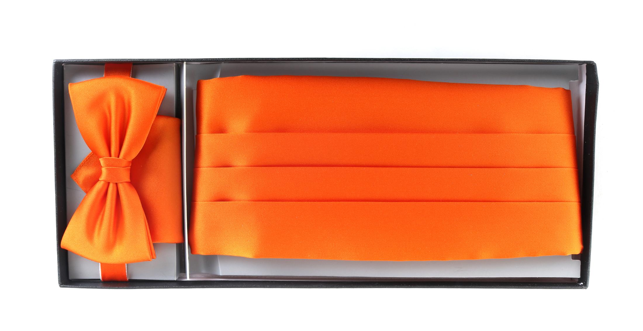 Set Kummerbund mit Fliege und Einstecktuch Orange foto 1