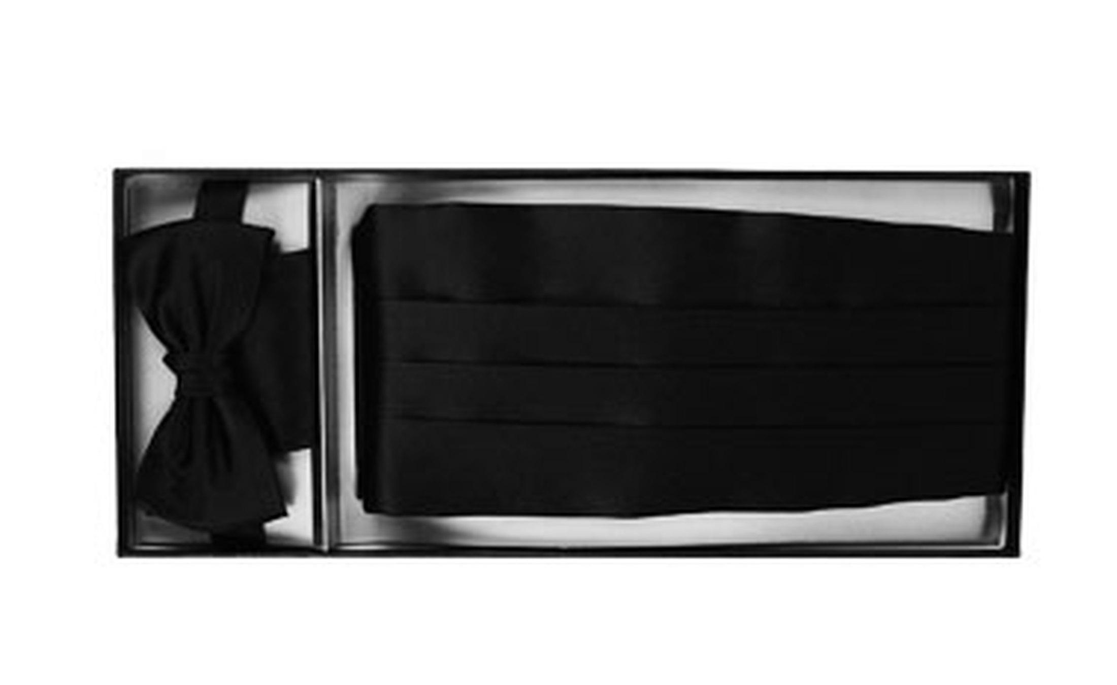 Set Kummerbund mit Fliege und Einstecktuch Schwarz Foto 1