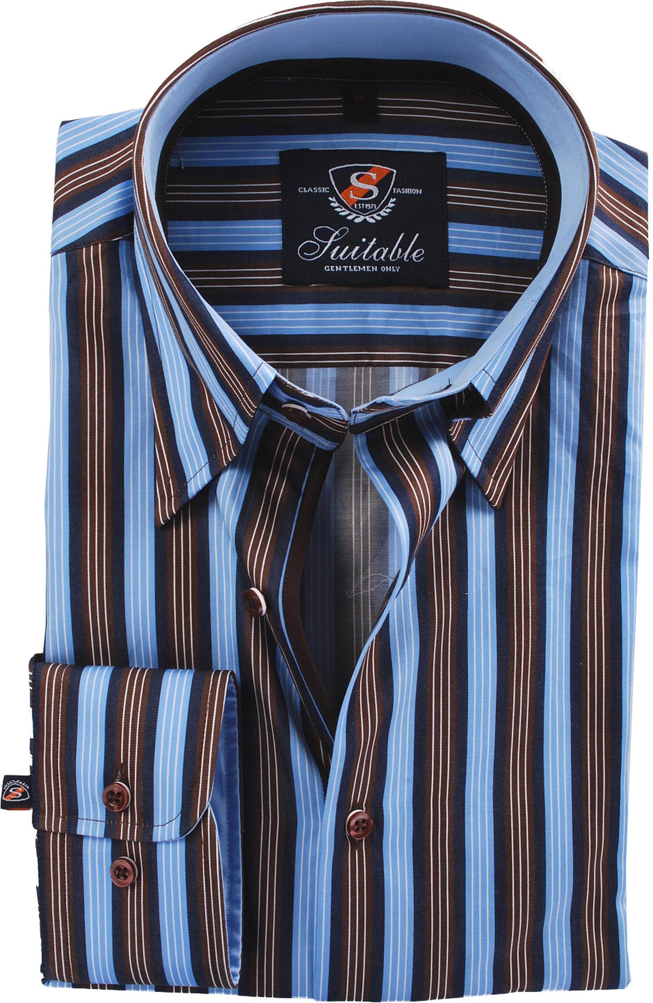 Shirt High Collar Brown Blue Striped