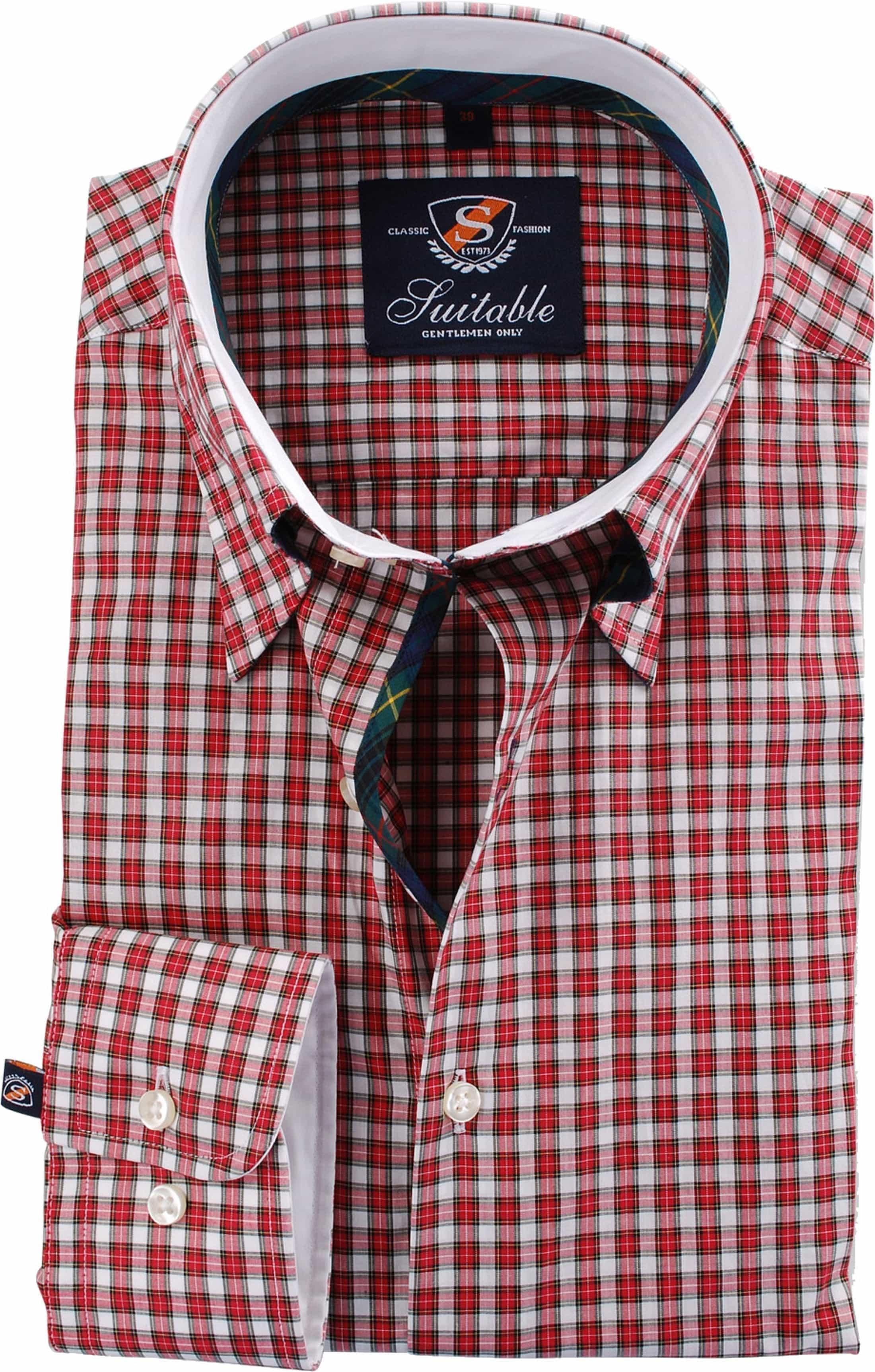 Overhemd Hoge Boord Heren.Shirt Hoge Boord English Red Check 44 14 100 Cot Poplin Online
