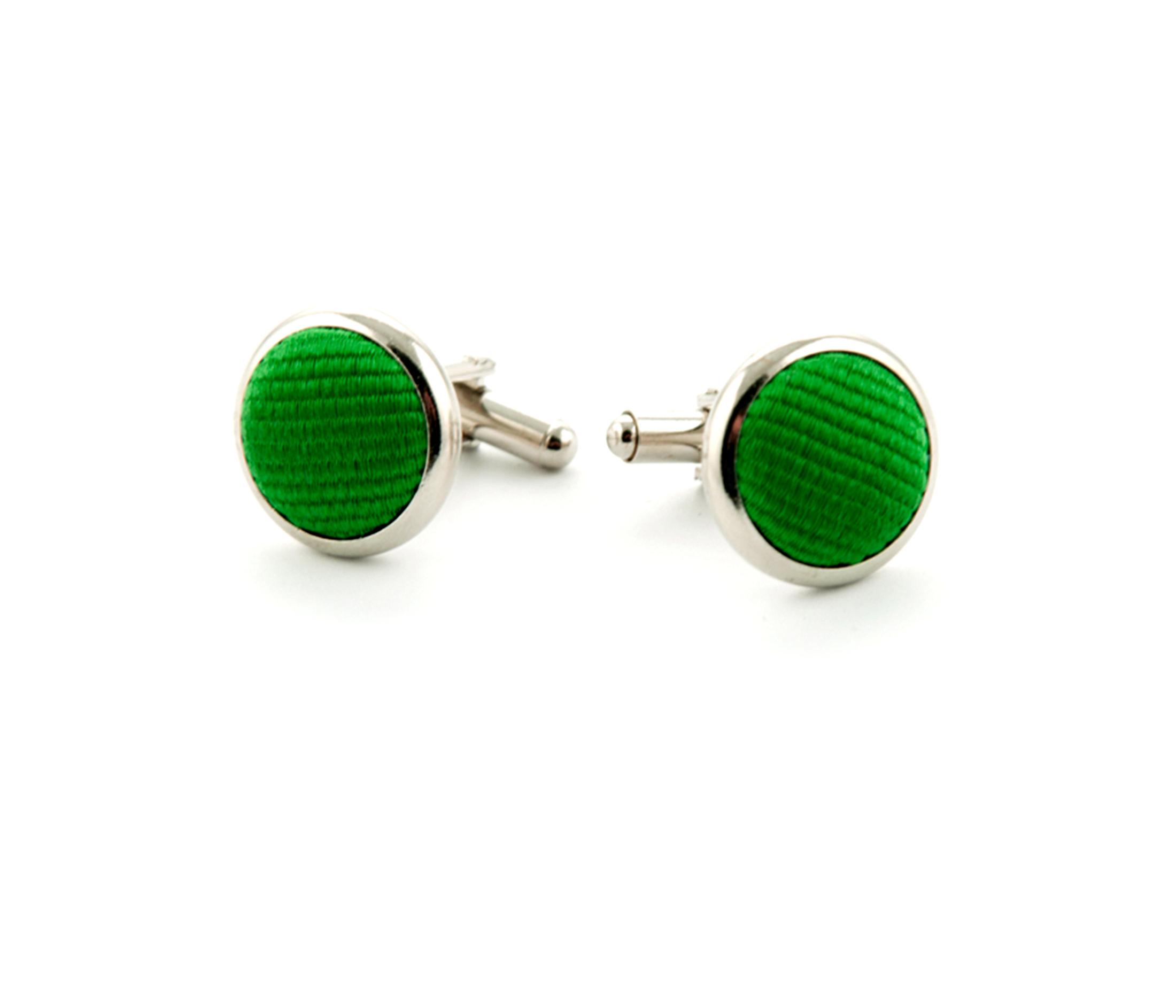 Silk Cufflinks Smaragd Green F68 foto 0