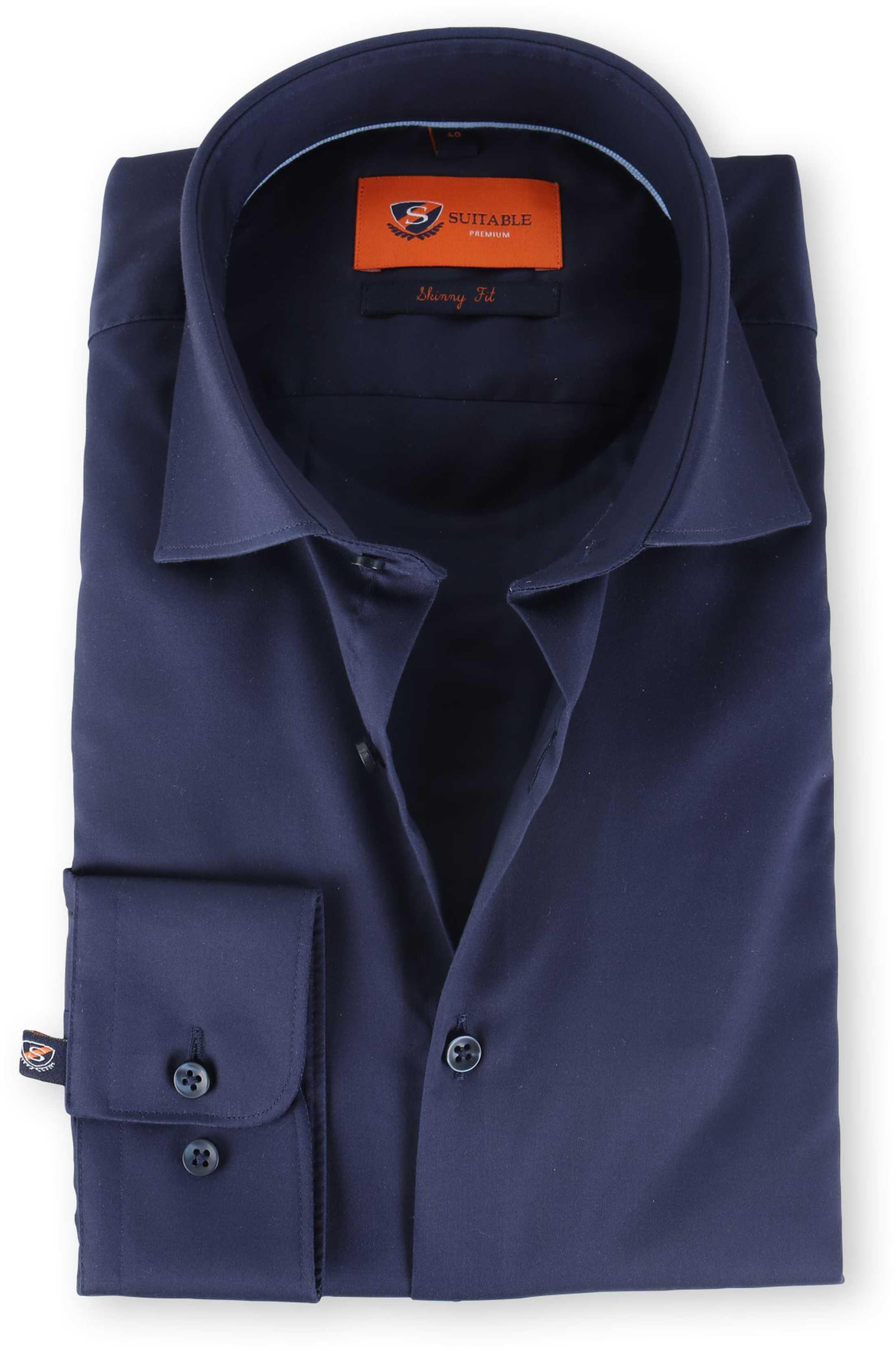 Skinny Fit Overhemd.Skinny Fit Overhemd Donkerblauw 132 4 132 4 Satin Stretch Navy