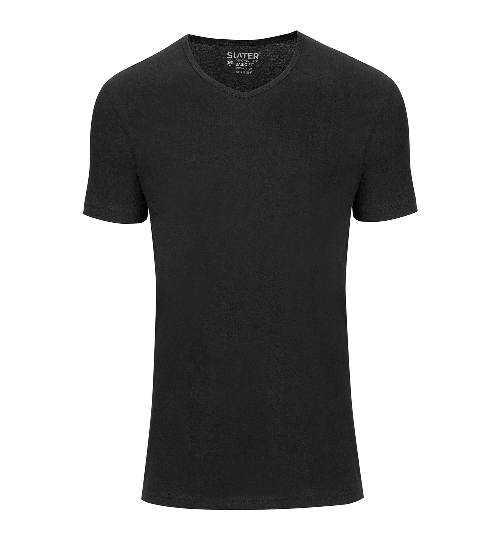 Slater 2-pack Basic Fit T-shirt V-neck Black foto 0