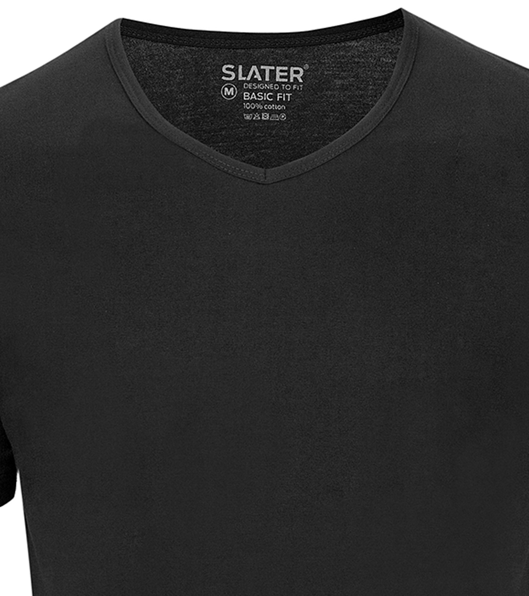 Slater 2-pack Basic Fit T-shirt V-neck Black foto 1