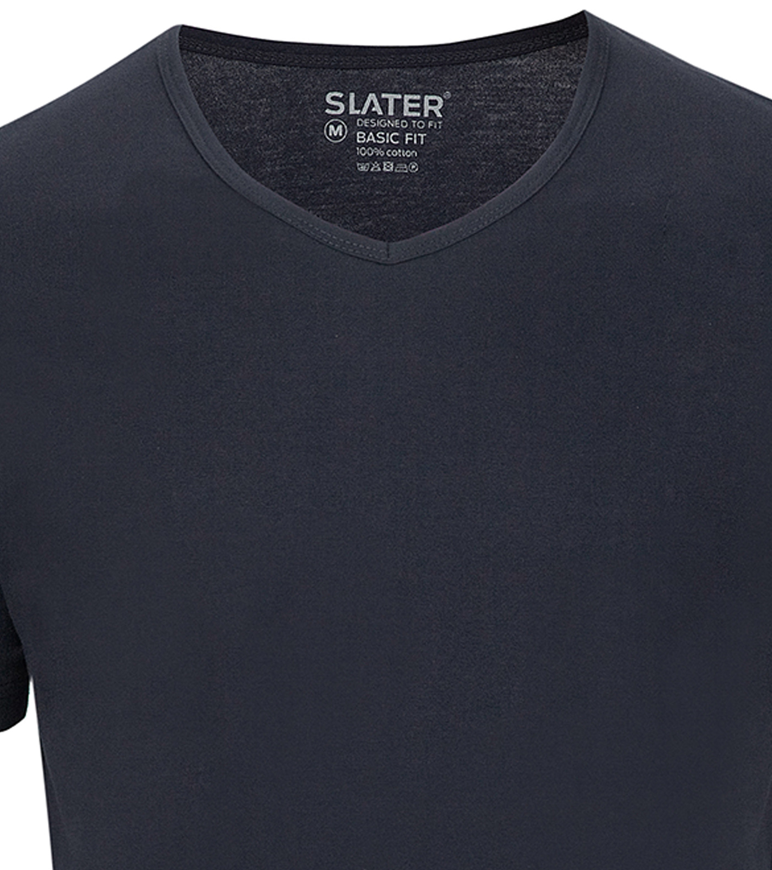 Slater 2-pack Basic Fit T-shirt V-neck Navy foto 1