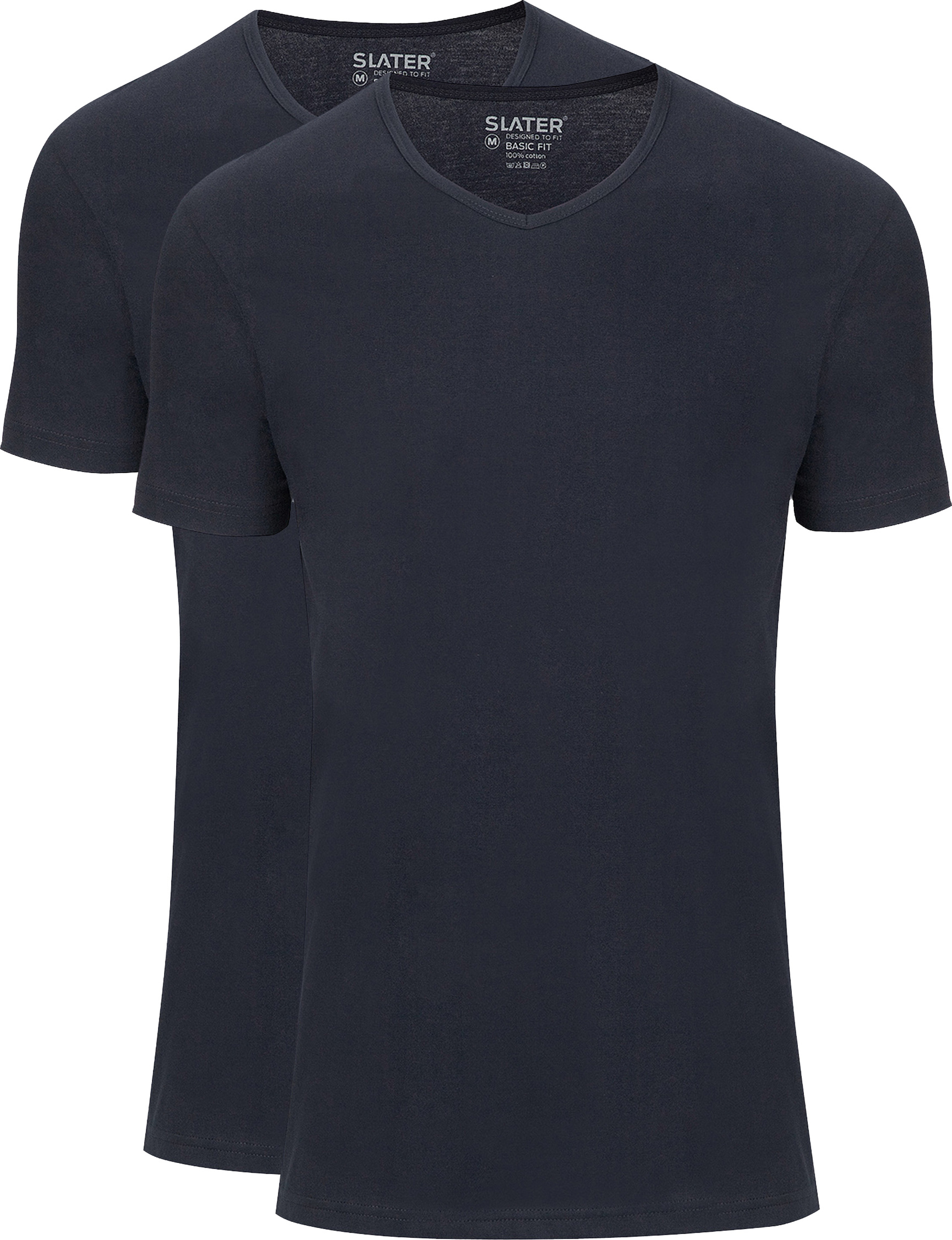 Slater 2-pack Basic Fit T-shirt V-neck Navy foto 0