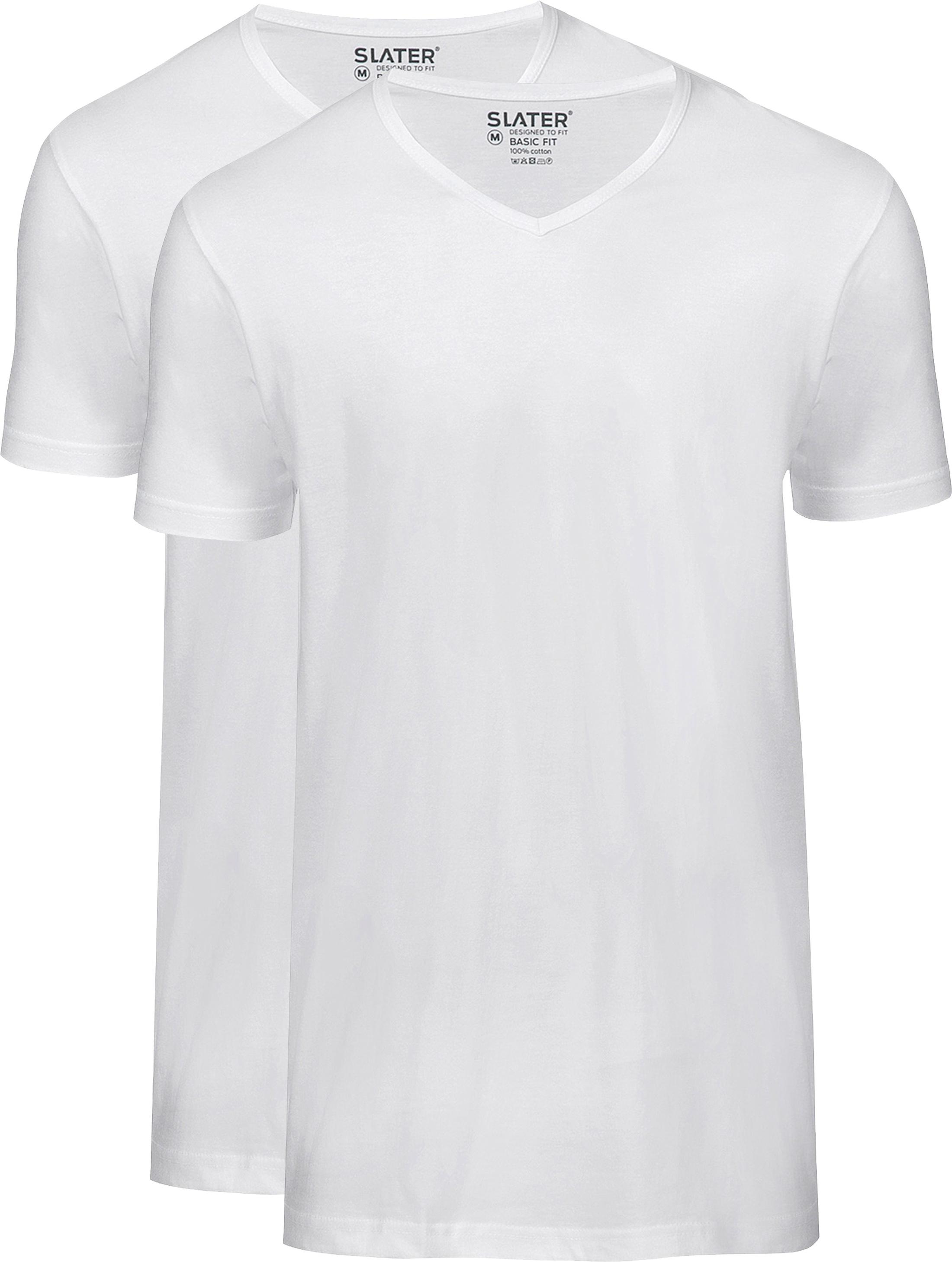 Slater 2-pack Basic Fit T-shirt V-neck White foto 0