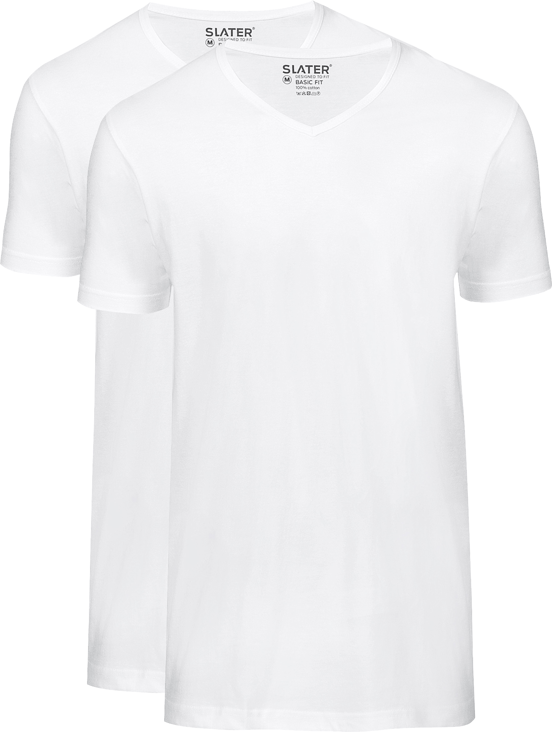 Slater 2-pack Basic Fit T-shirt V-neck White foto 0