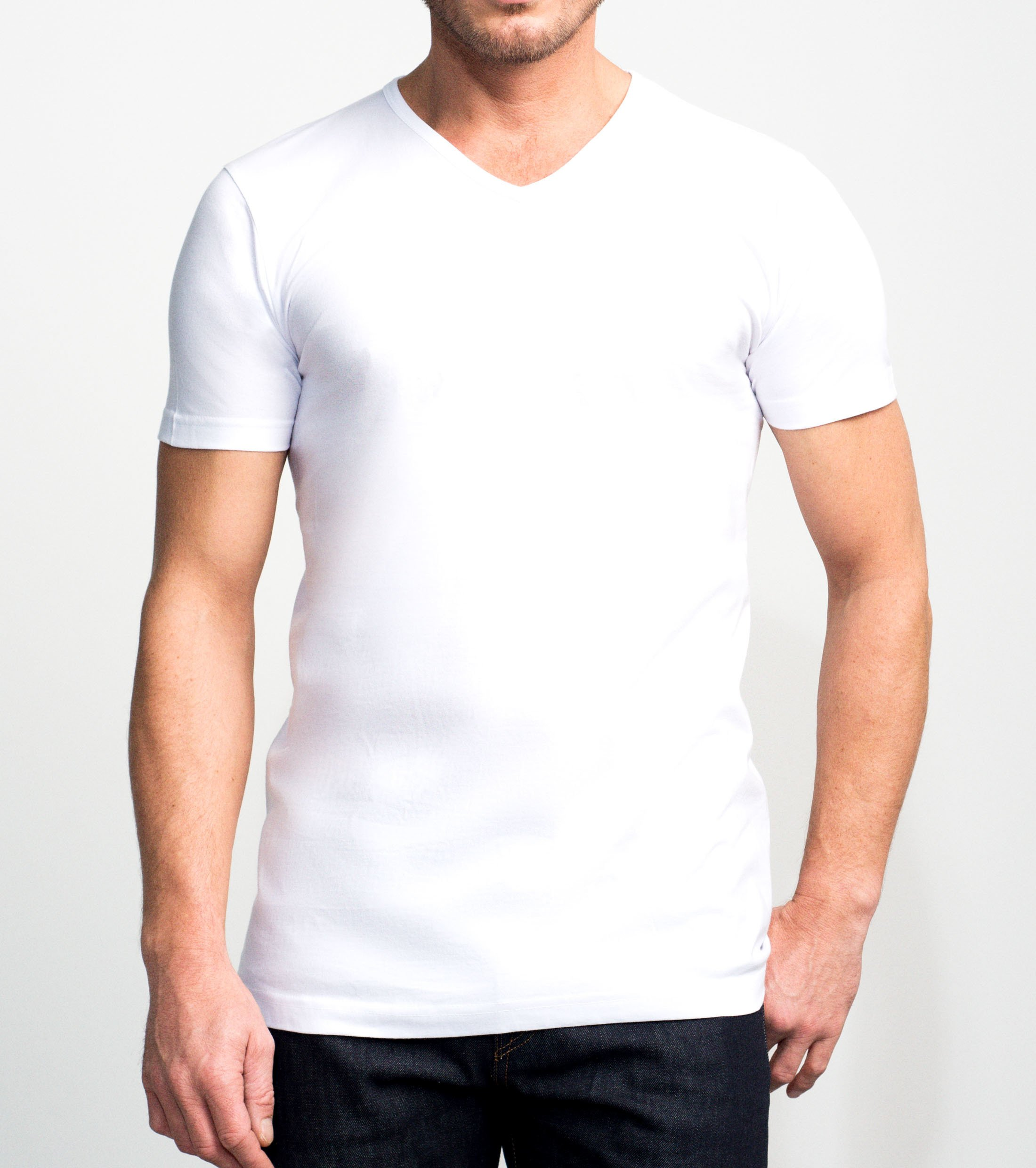 Slater 2-pack Basic Fit T-shirt V-neck White foto 2