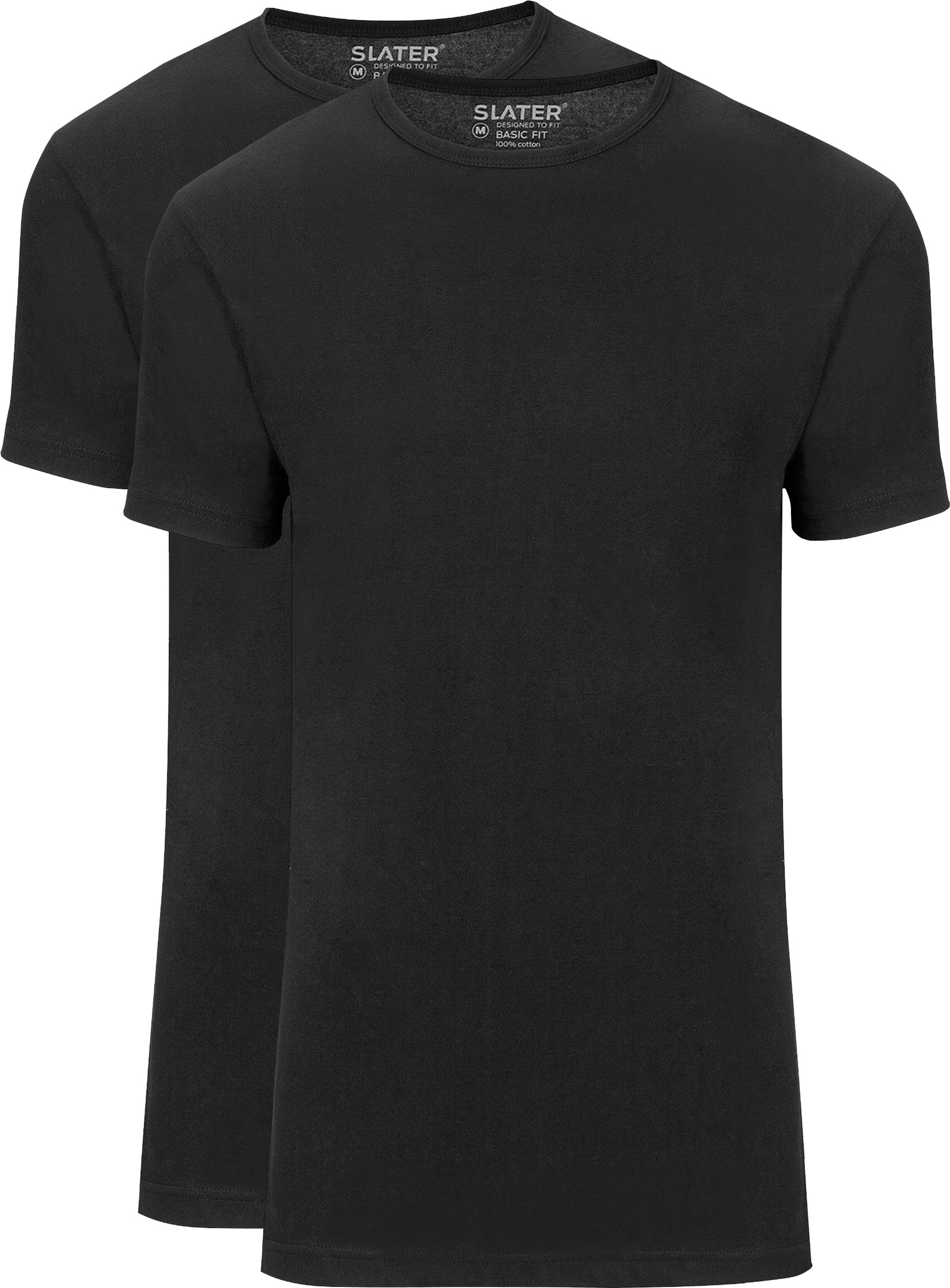 Slater 2-pack Basic Fit T-shirt Zwart foto 0