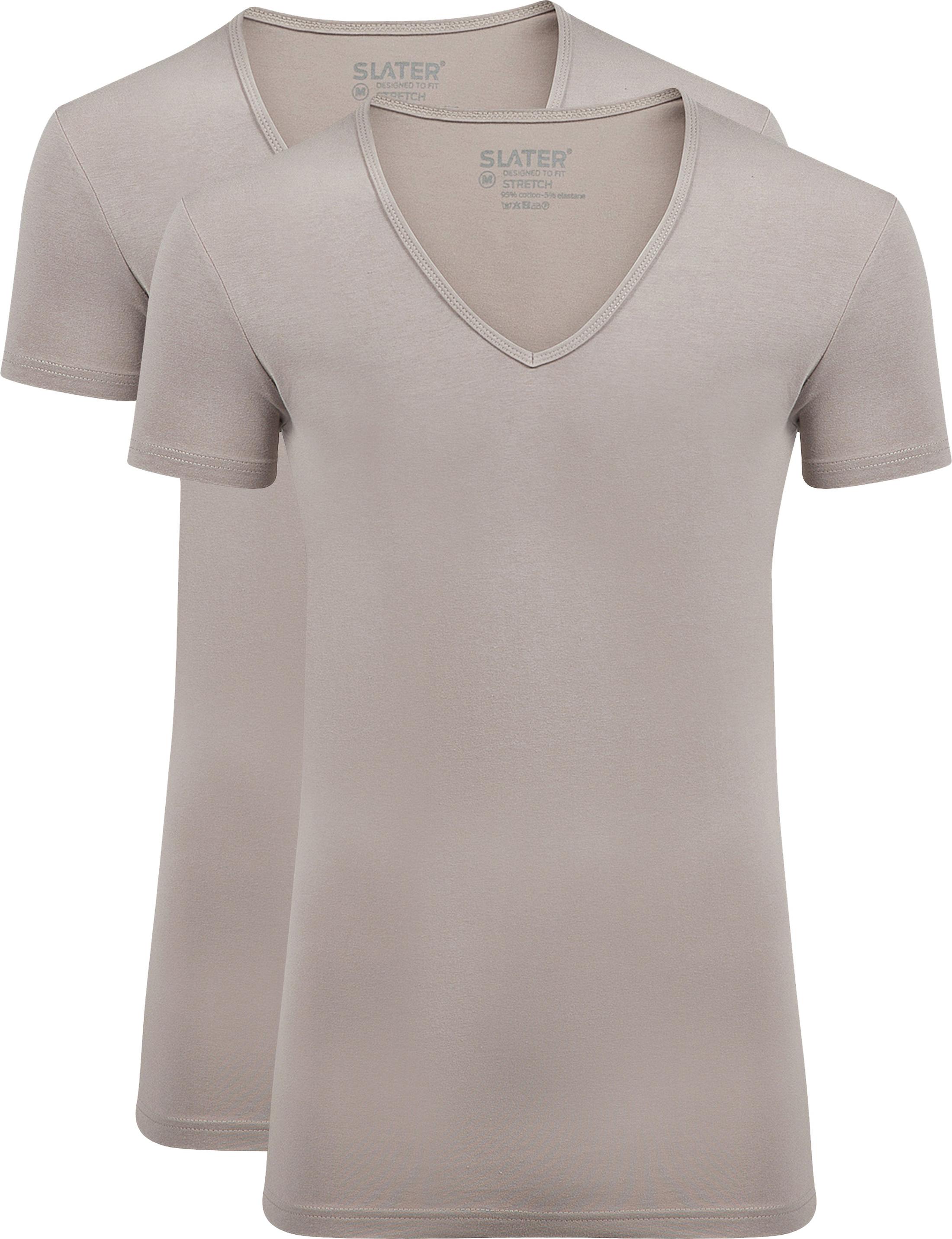 Slater 2-pack Stretch T-shirt V-hals Huidskleur
