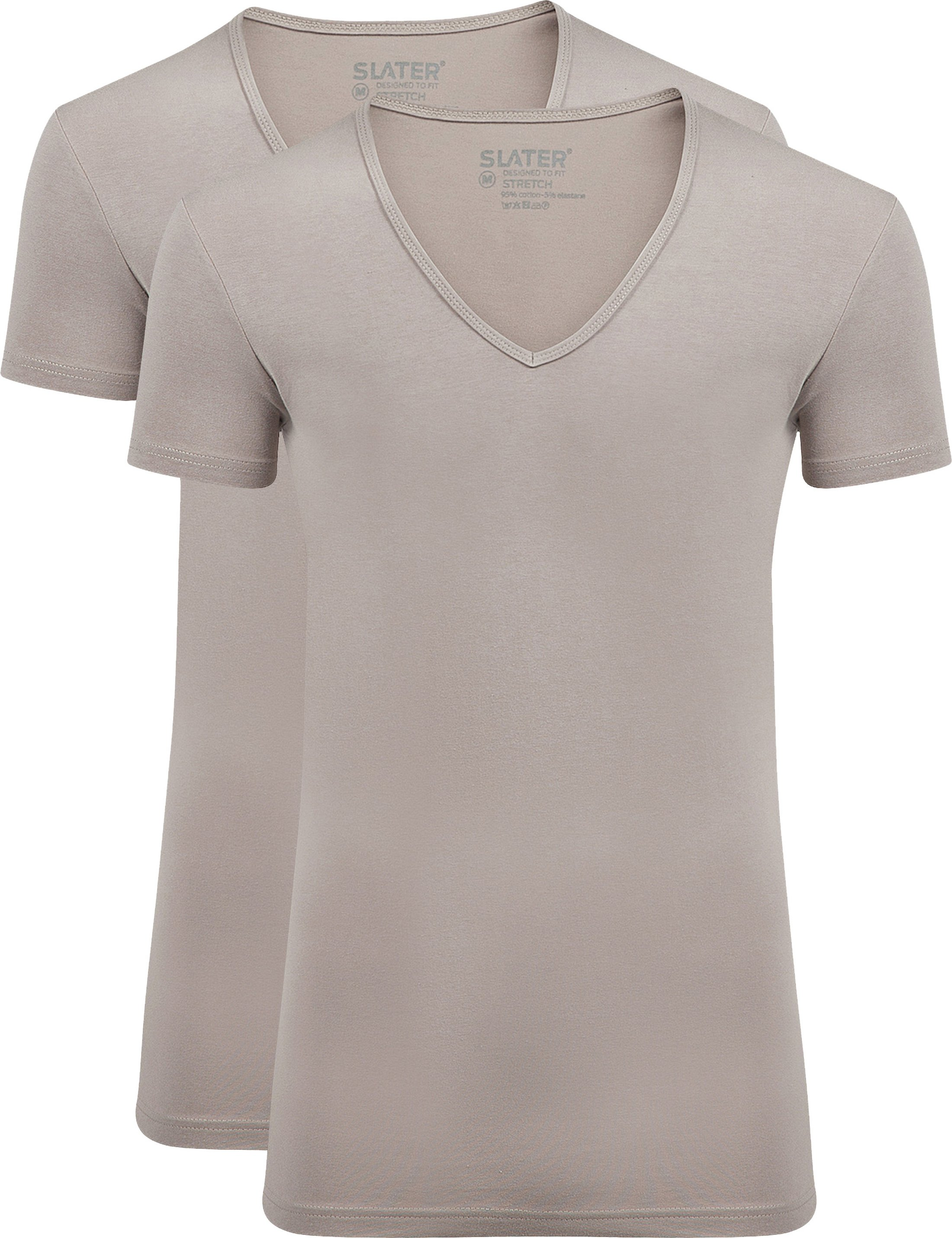 Slater 2-pack Stretch T-shirt V-neck Huidskleur