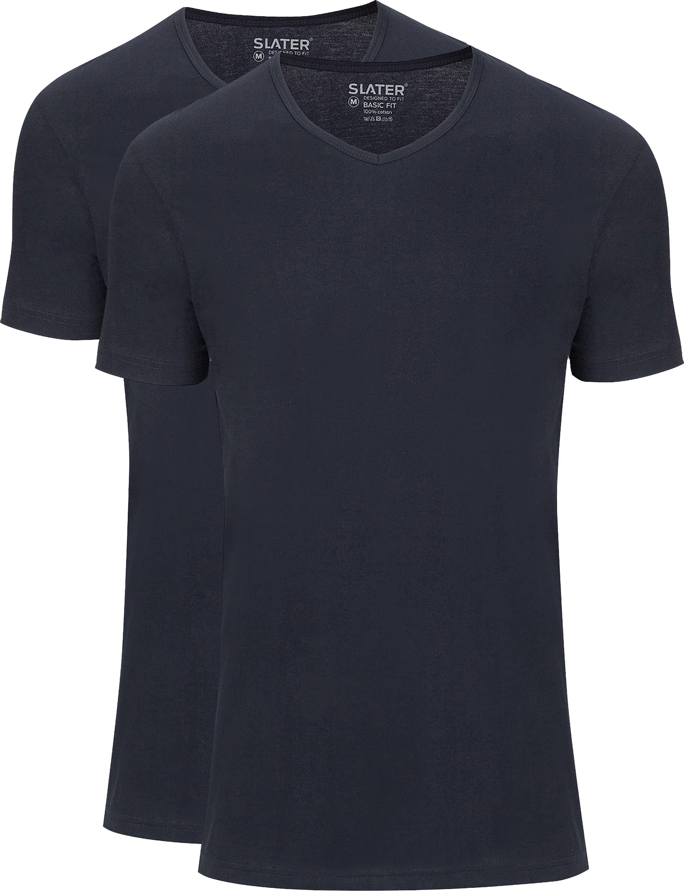 Slater 2er-pack Basic Fit T-shirt V-Ausschnitt Dunkelblau