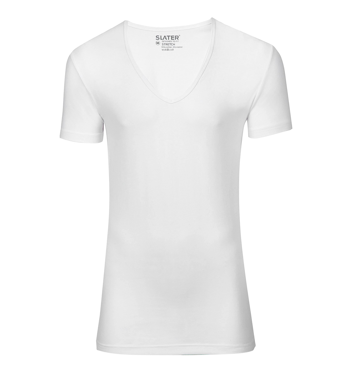 Slater 2er-Pack Stretch T-shirt Tiefer V-Ausschnitt Weiß foto 0