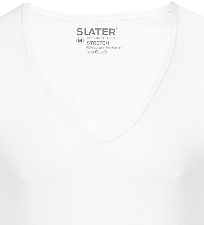 Slater 2er-Pack Stretch T-shirt Tiefer V-Ausschnitt Weiß foto 1