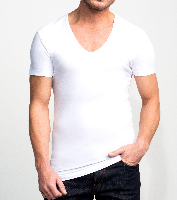 Slater 2er-Pack Stretch T-shirt Tiefer V-Ausschnitt Weiß foto 2