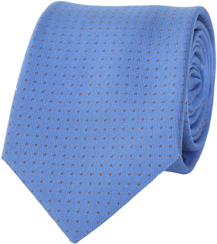 Stropdas Zijde Blauw + Oranje Punt foto 0