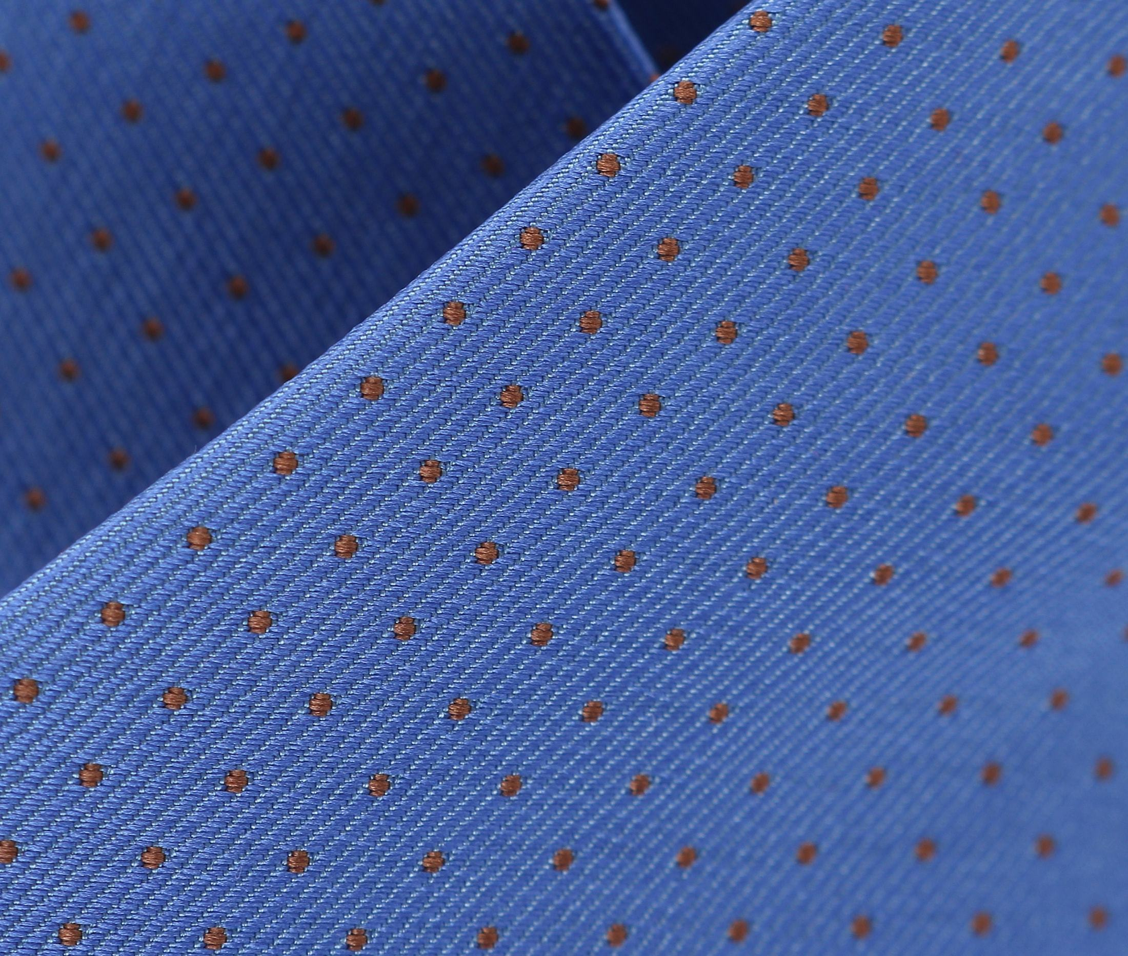 Stropdas Zijde Blauw + Oranje Punt foto 1