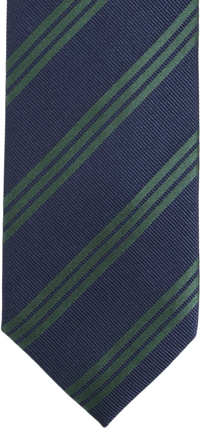Stropdas Zijde Strepen Navy Groen foto 2