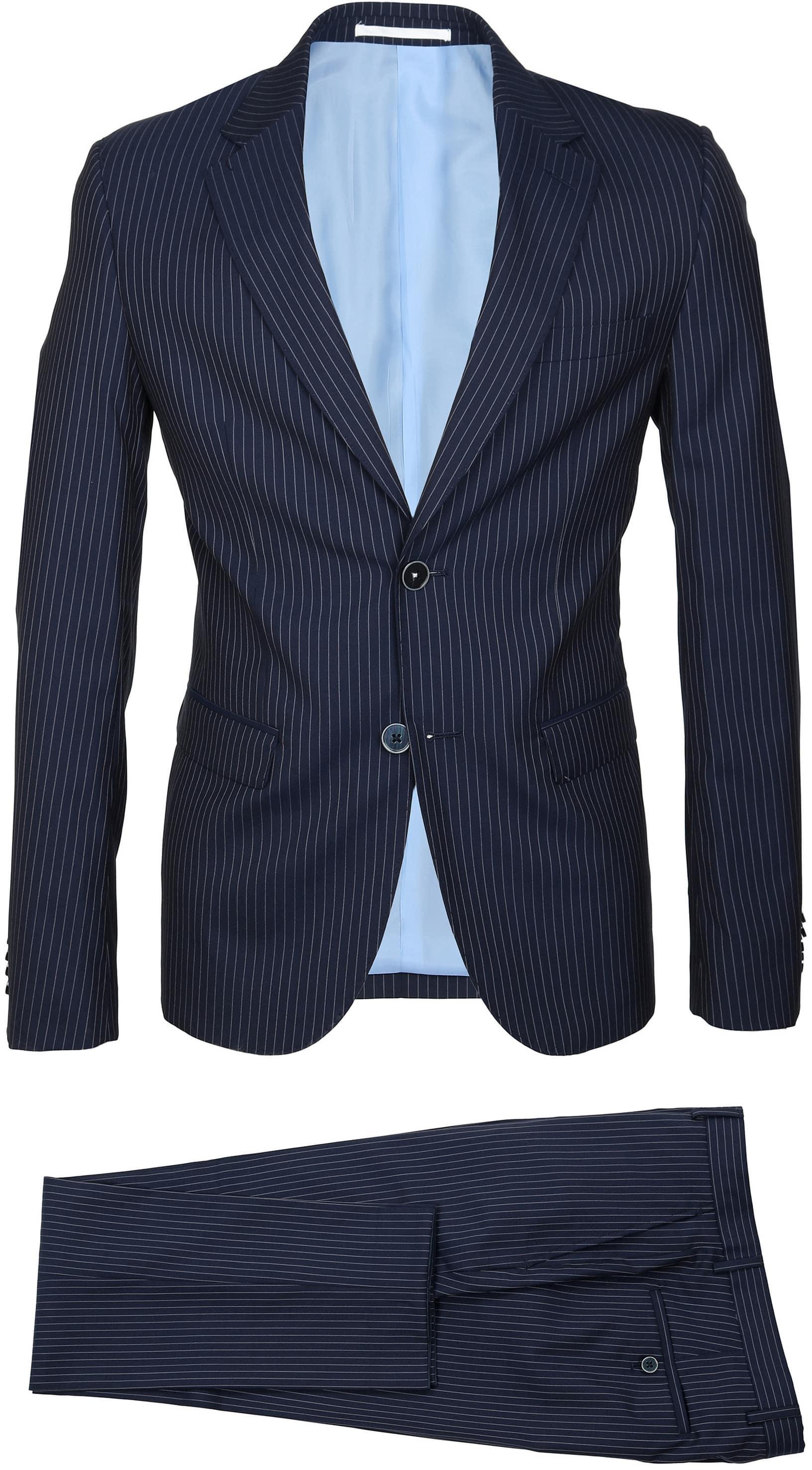 Suitable Anzug Strato Streifen Dunkelblau foto 1
