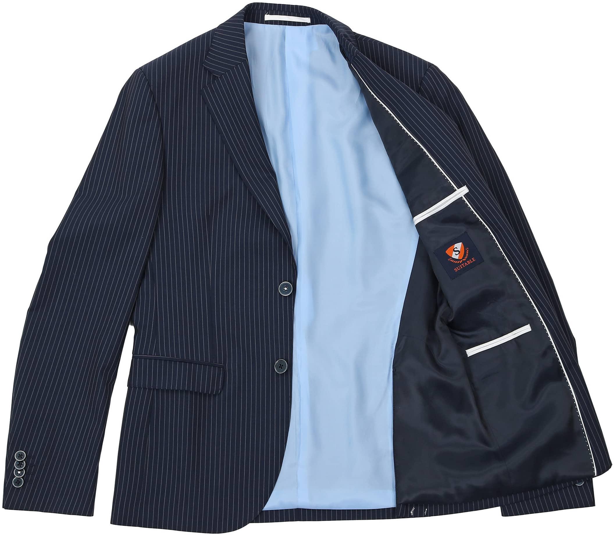 Suitable Anzug Strato Streifen Dunkelblau foto 5