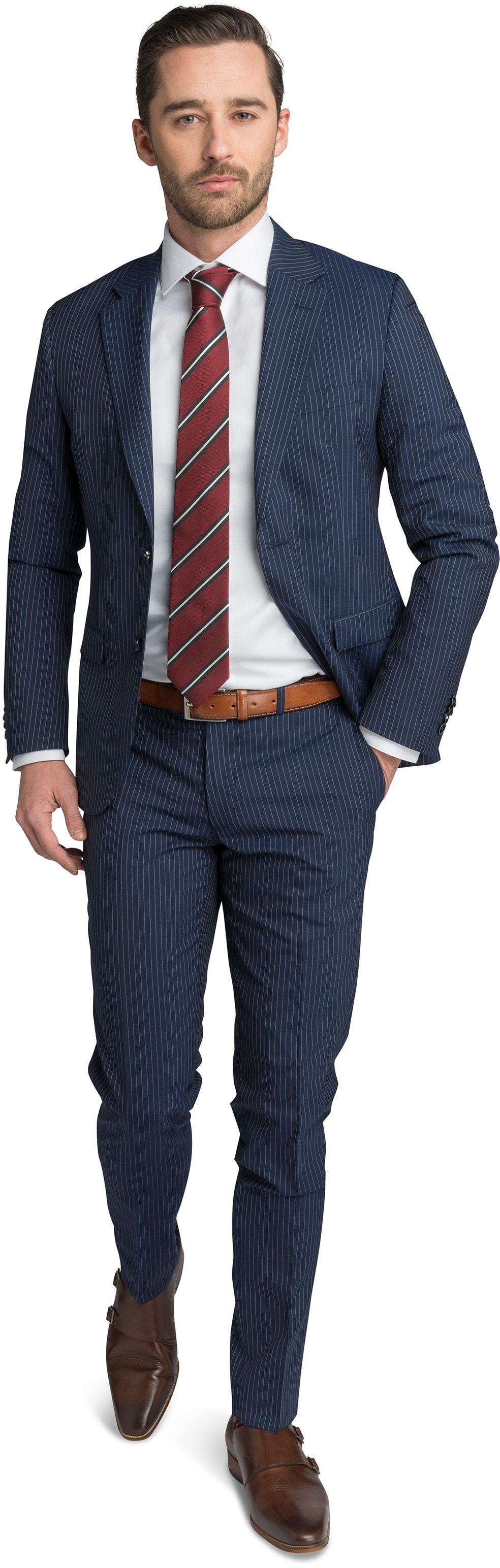 Suitable Anzug Strato Streifen Dunkelblau foto 0