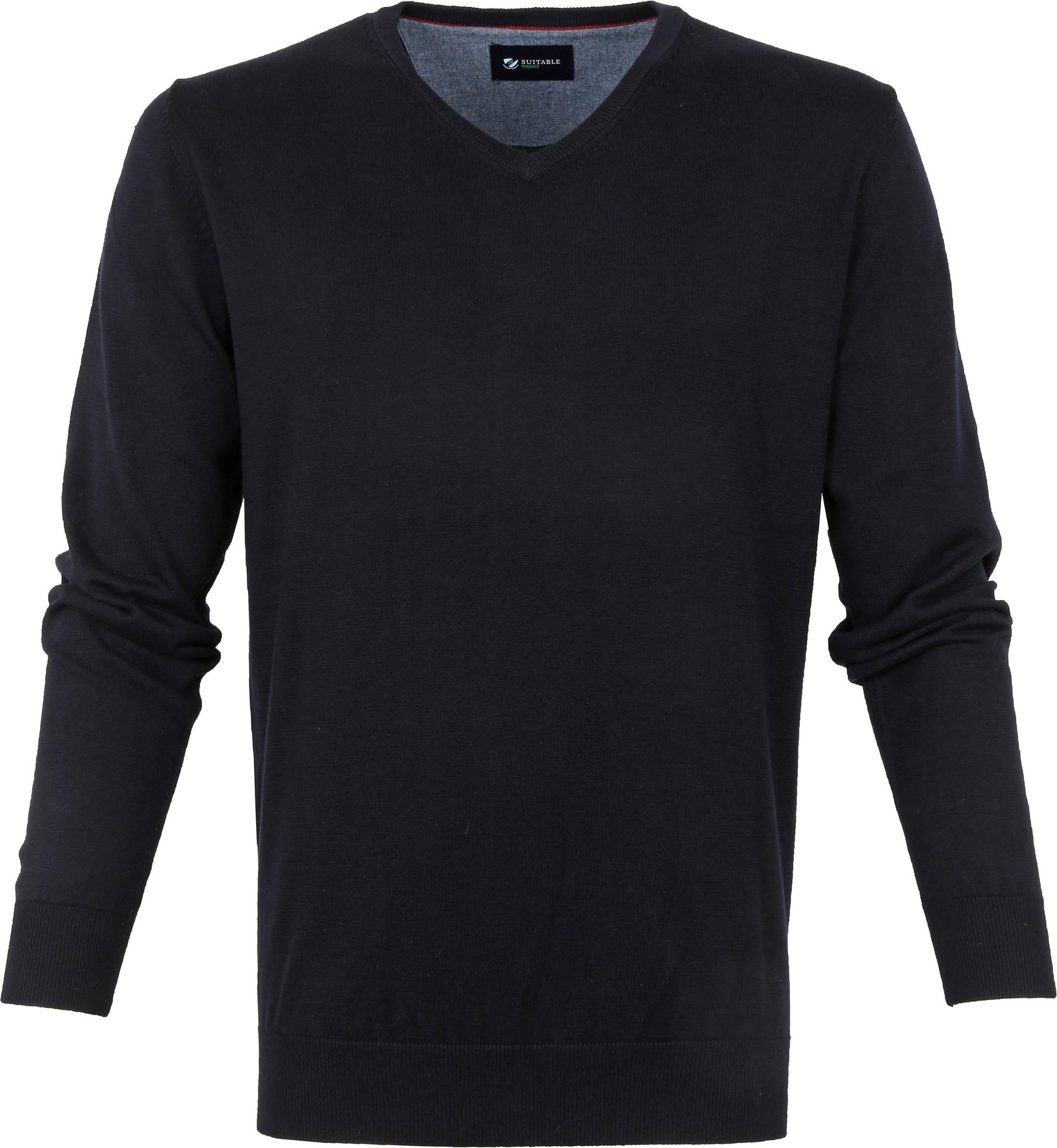 Suitable Baumwolle Vini Pullover V-Ausschnitt Dunkelblau